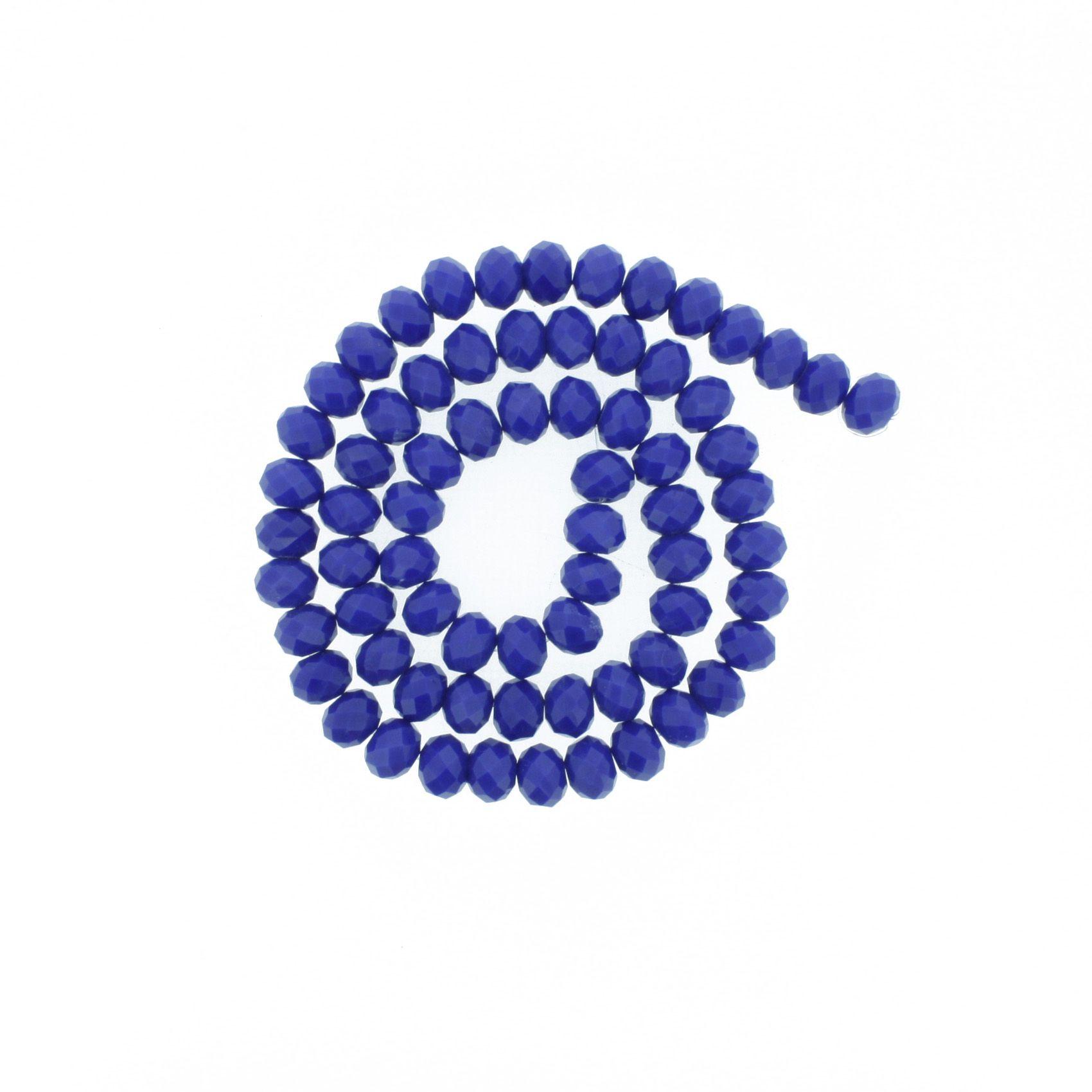 Fio de Cristal - Flat® - Azul Royal - 8mm  - Stéphanie Bijoux® - Peças para Bijuterias e Artesanato