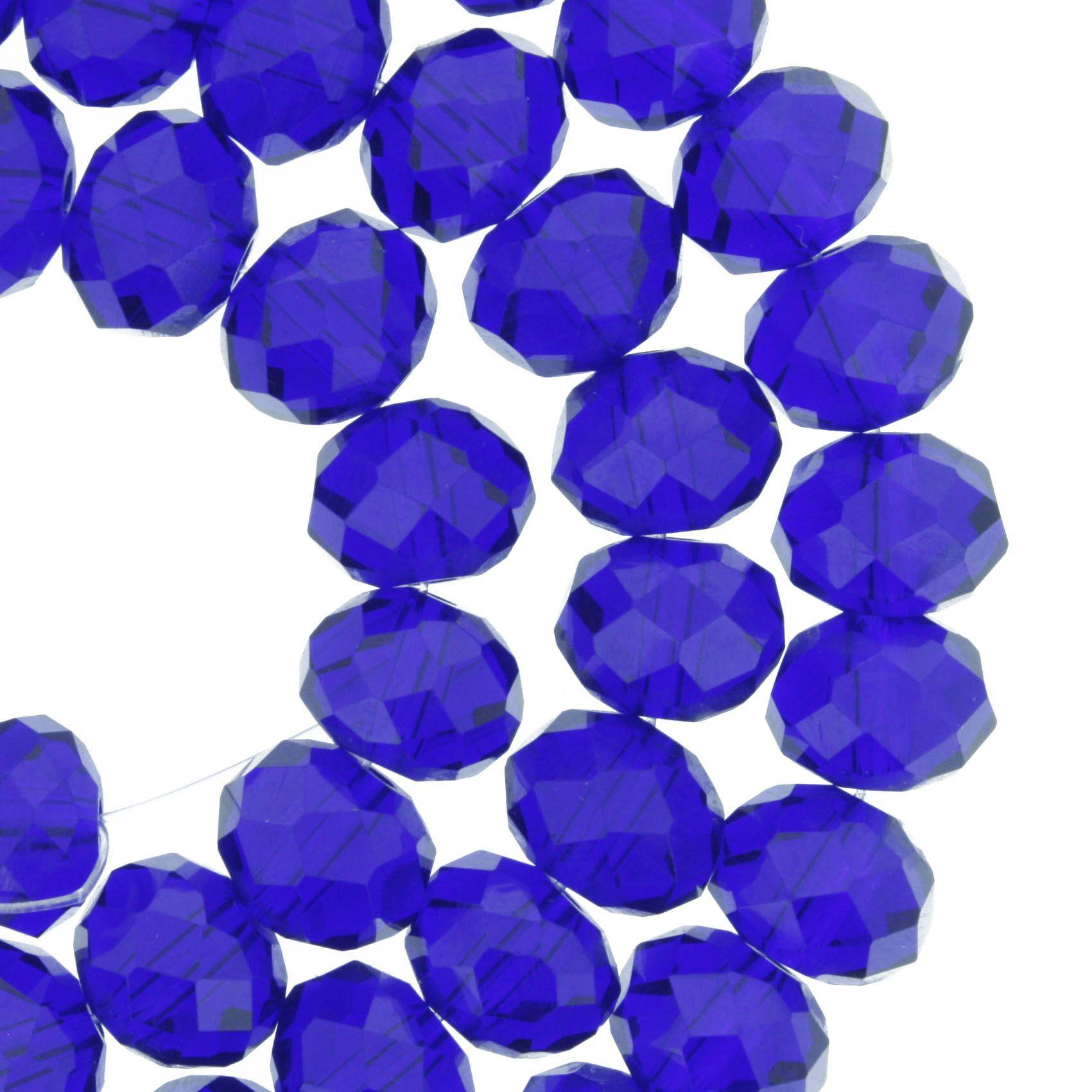 Fio de Cristal - Flat® - Azul Royal Transparente - 10mm  - Stéphanie Bijoux® - Peças para Bijuterias e Artesanato