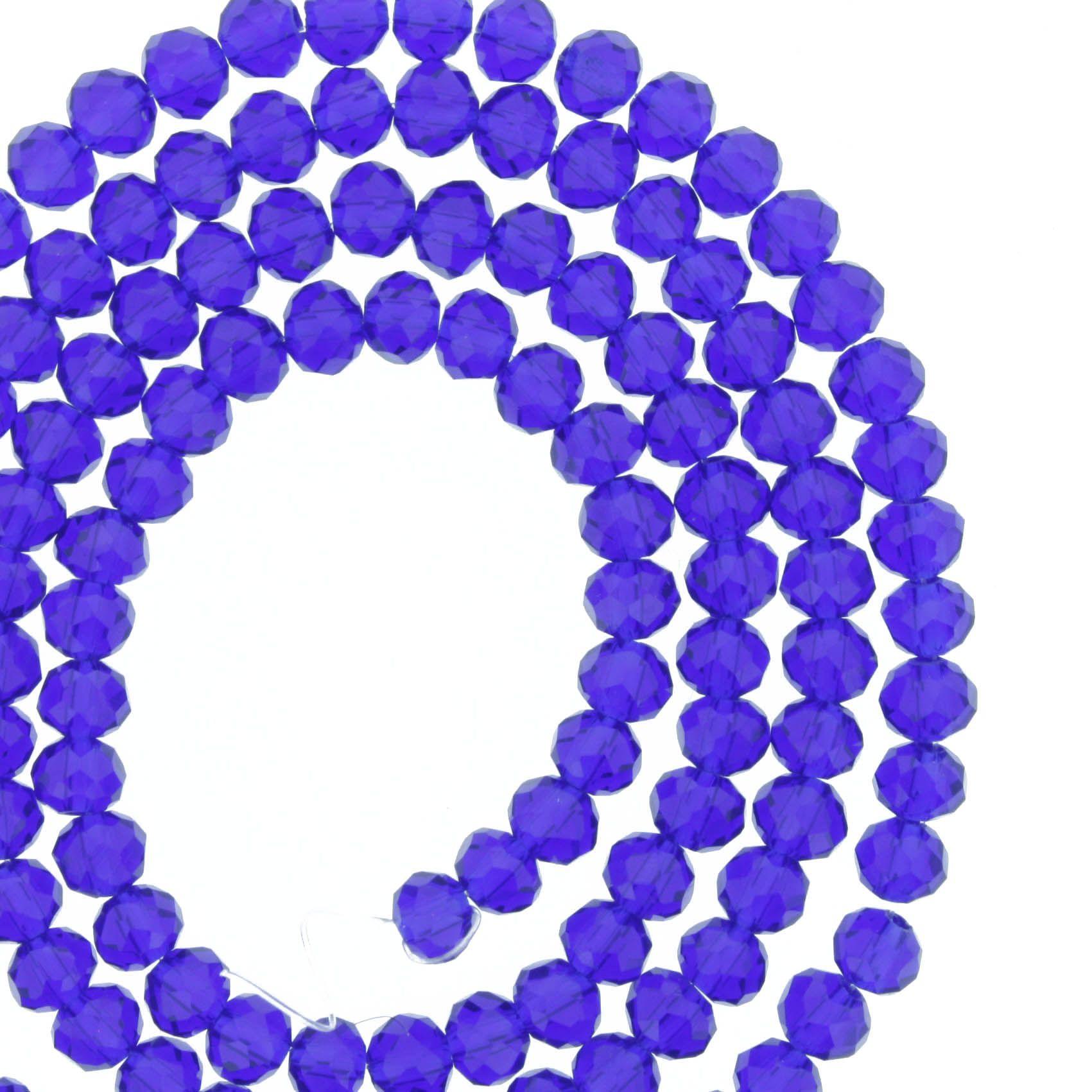 Fio de Cristal - Flat® - Azul Royal Transparente - 4mm  - Stéphanie Bijoux® - Peças para Bijuterias e Artesanato
