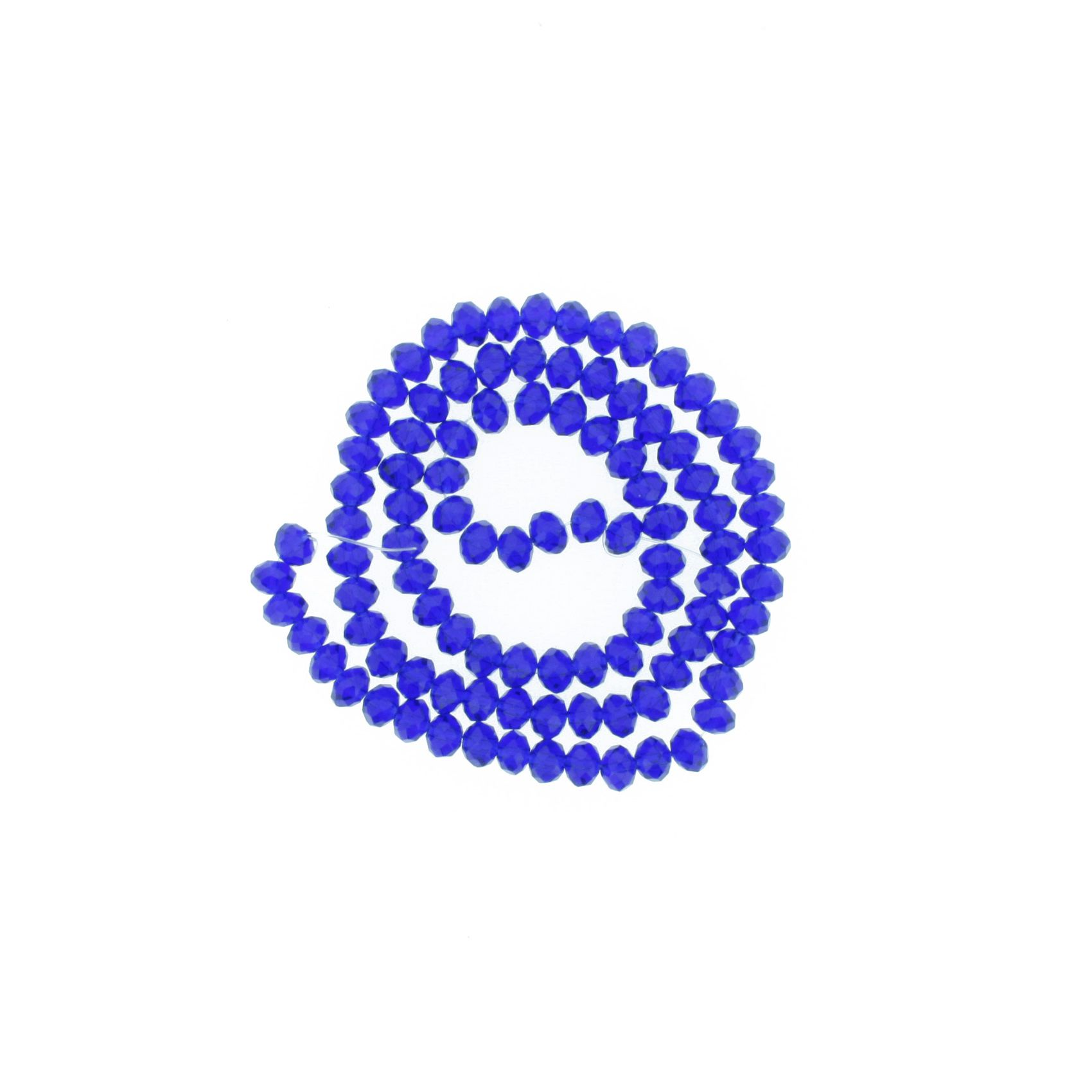 Fio de Cristal - Flat® - Azul Royal Transparente - 6mm  - Stéphanie Bijoux® - Peças para Bijuterias e Artesanato