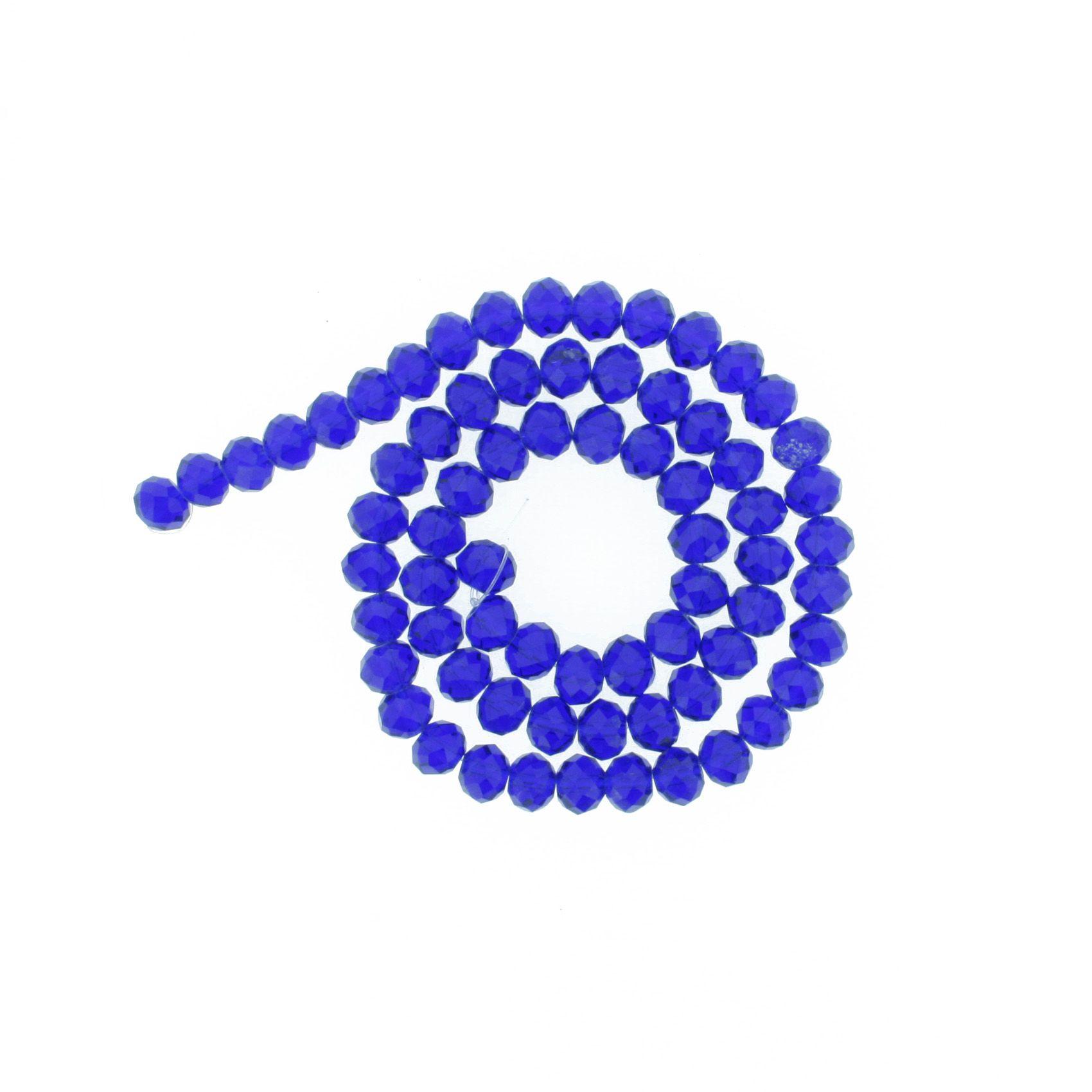 Fio de Cristal - Flat® - Azul Royal Transparente - 8mm  - Stéphanie Bijoux® - Peças para Bijuterias e Artesanato