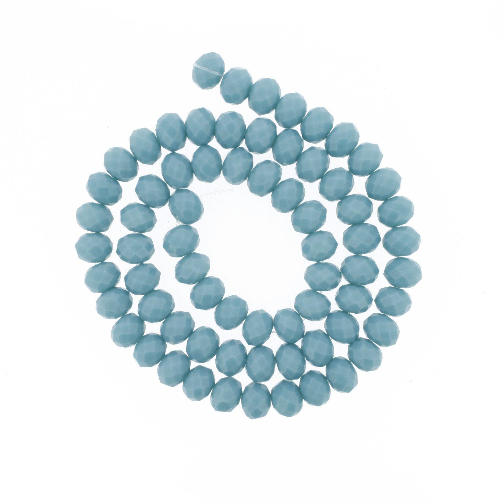 Fio de Cristal - Flat® - Azul Tiffany - 8mm  - Stéphanie Bijoux® - Peças para Bijuterias e Artesanato