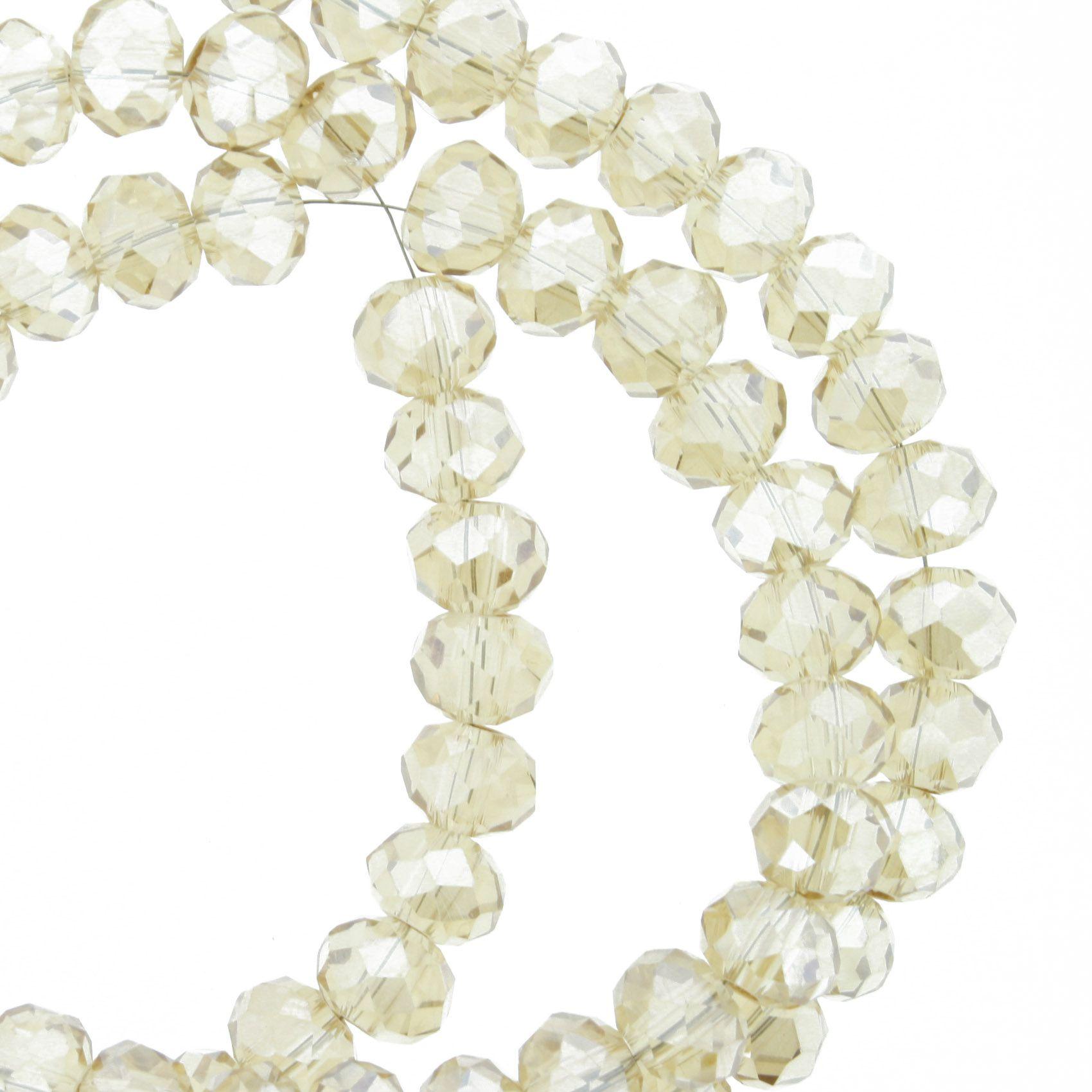 Fio de Cristal - Flat® - Bege Irizado Transparente - 6mm  - Stéphanie Bijoux® - Peças para Bijuterias e Artesanato
