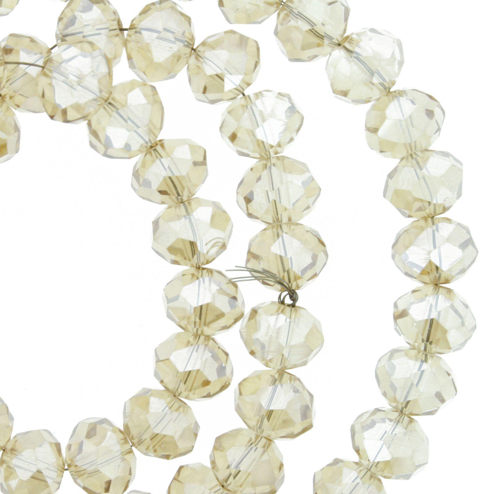 Fio de Cristal - Flat® - Bege Irizado Transparente - 8mm  - Stéphanie Bijoux® - Peças para Bijuterias e Artesanato