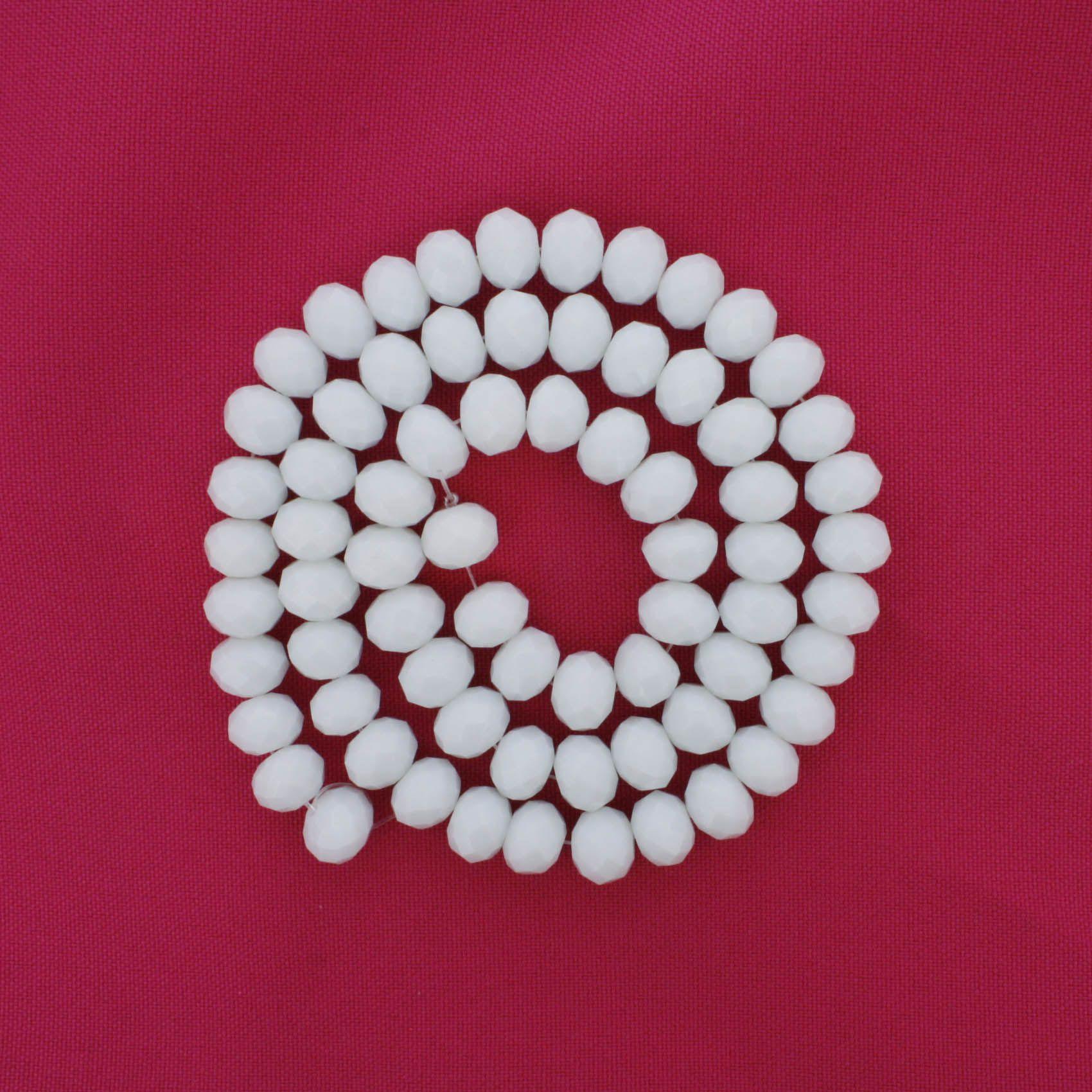 Fio de Cristal - Flat® - Branco - 10mm  - Stéphanie Bijoux® - Peças para Bijuterias e Artesanato