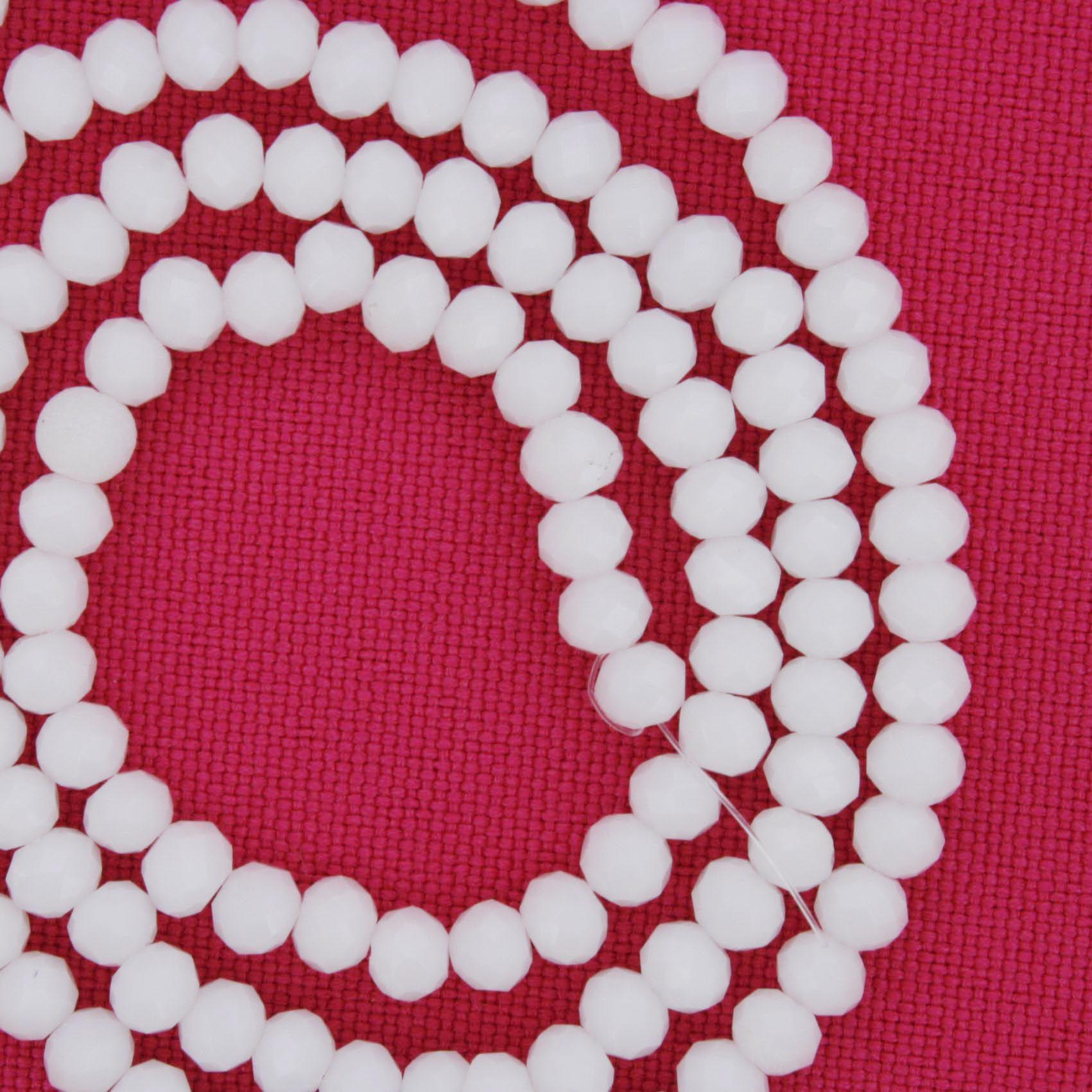 Fio de Cristal - Flat® - Branco - 4mm  - Stéphanie Bijoux® - Peças para Bijuterias e Artesanato