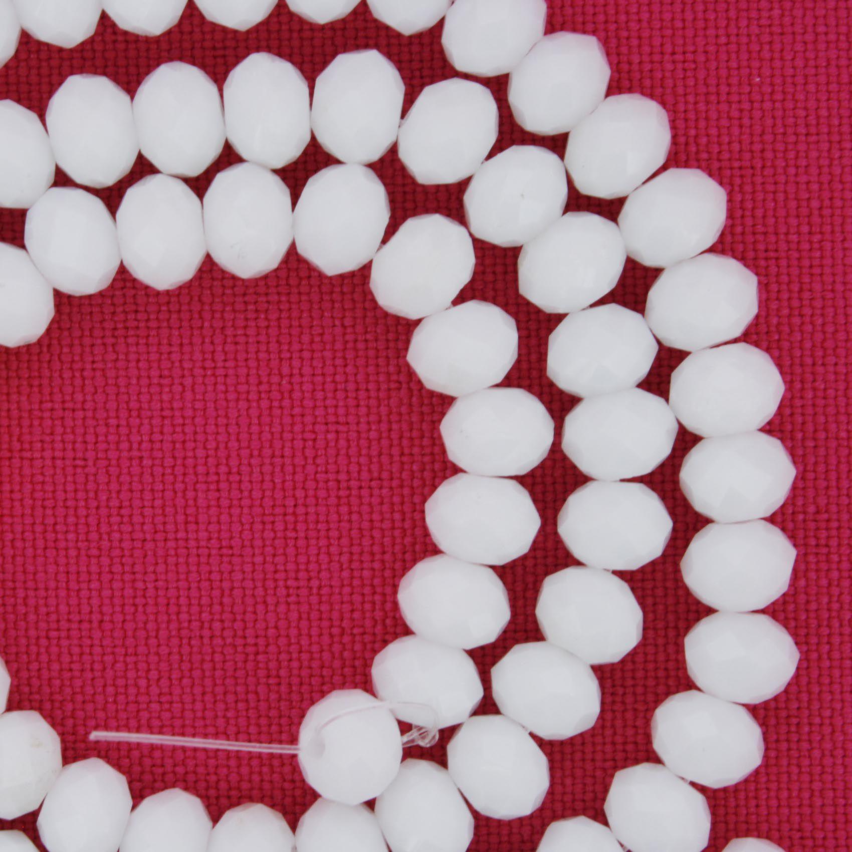 Fio de Cristal - Flat® - Branco - 6mm  - Stéphanie Bijoux® - Peças para Bijuterias e Artesanato