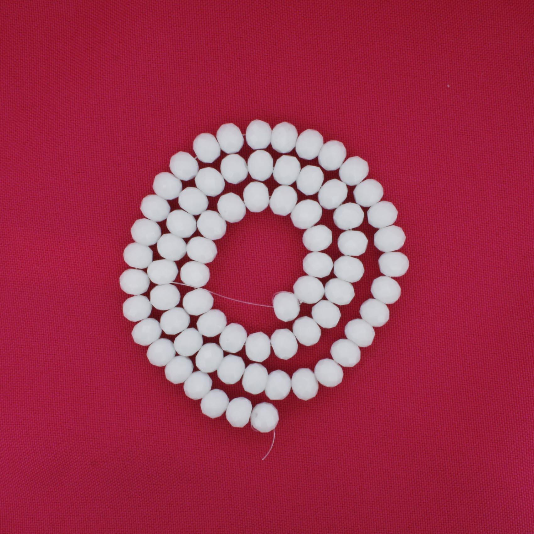 Fio de Cristal - Flat® - Branco - 8mm  - Stéphanie Bijoux® - Peças para Bijuterias e Artesanato