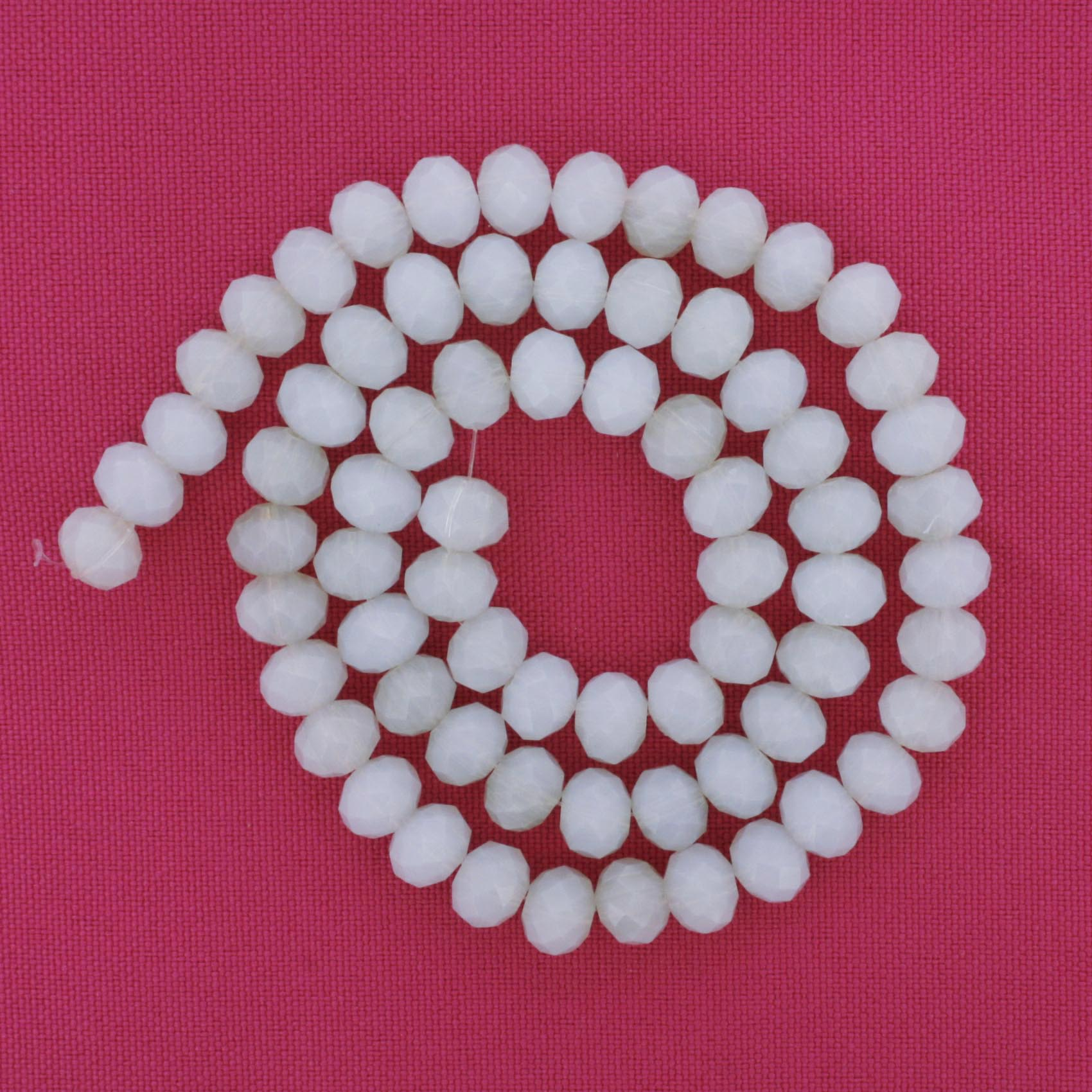 Fio de Cristal - Flat® - Branco Opaco - 8mm  - Stéphanie Bijoux® - Peças para Bijuterias e Artesanato