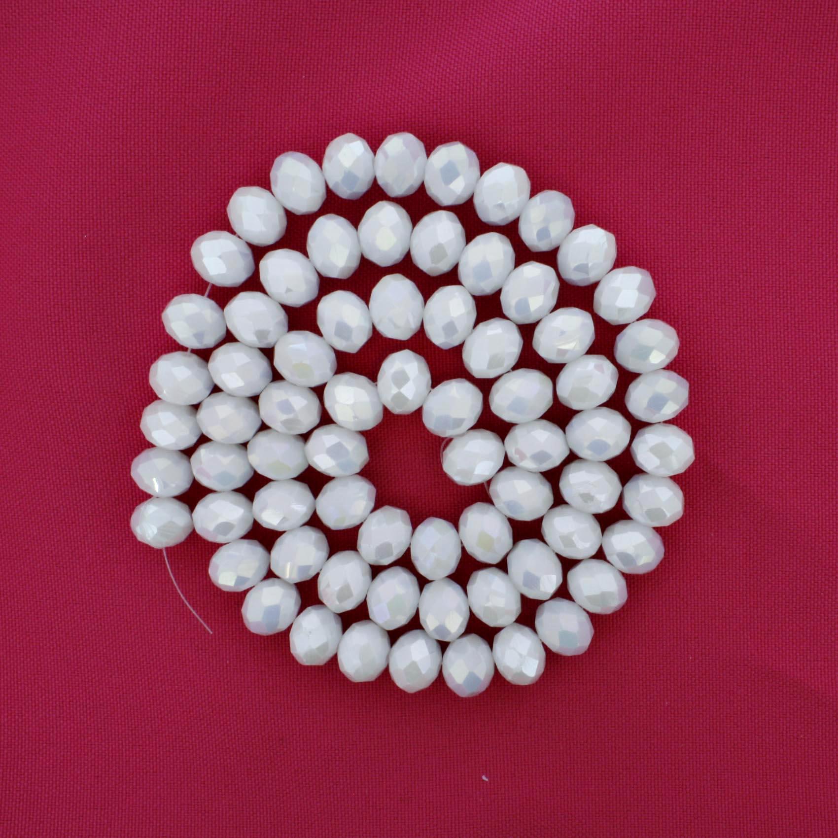 Fio de Cristal - Flat® - Branco Perolado - 10mm  - Stéphanie Bijoux® - Peças para Bijuterias e Artesanato