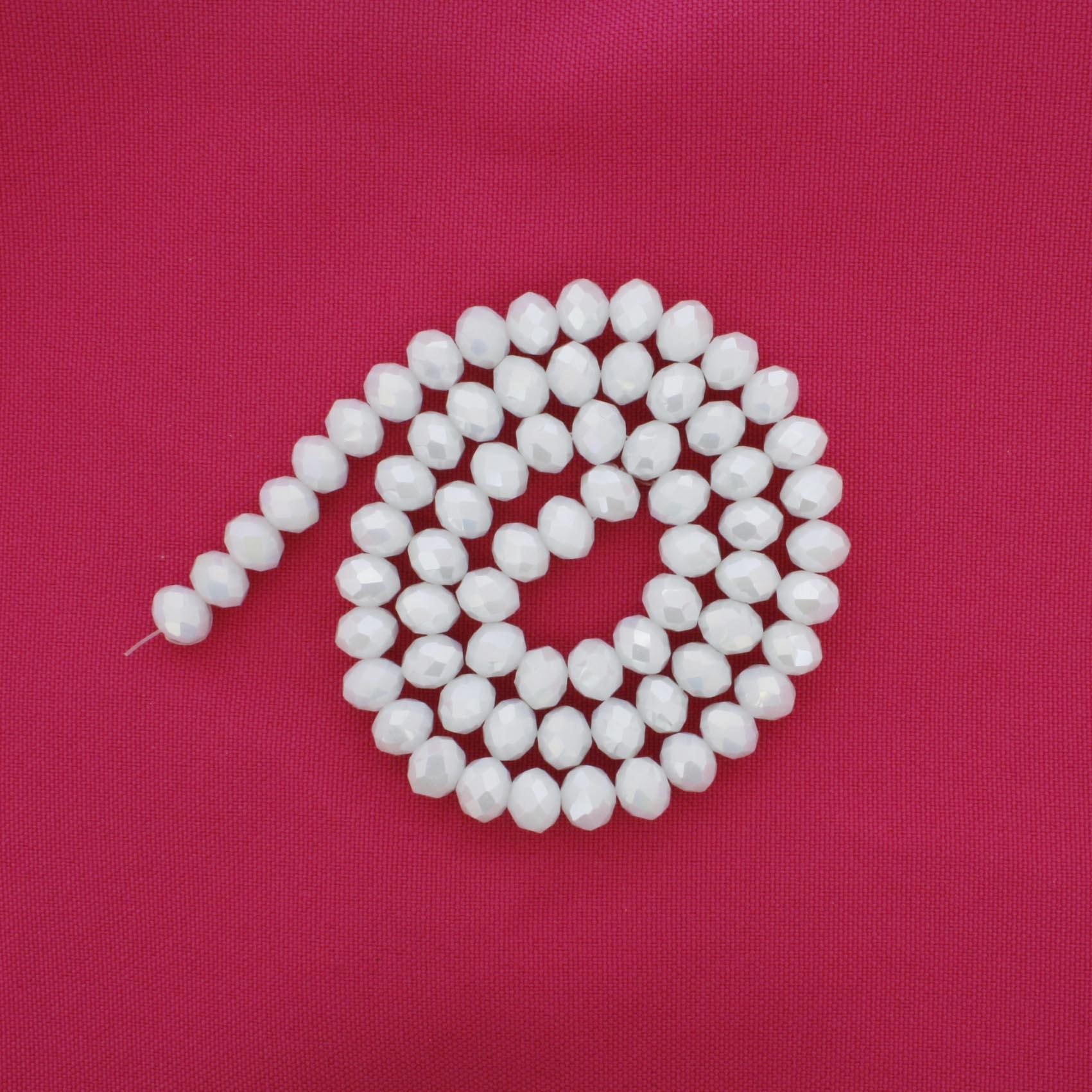 Fio de Cristal - Flat® - Branco Perolado - 8mm  - Stéphanie Bijoux® - Peças para Bijuterias e Artesanato