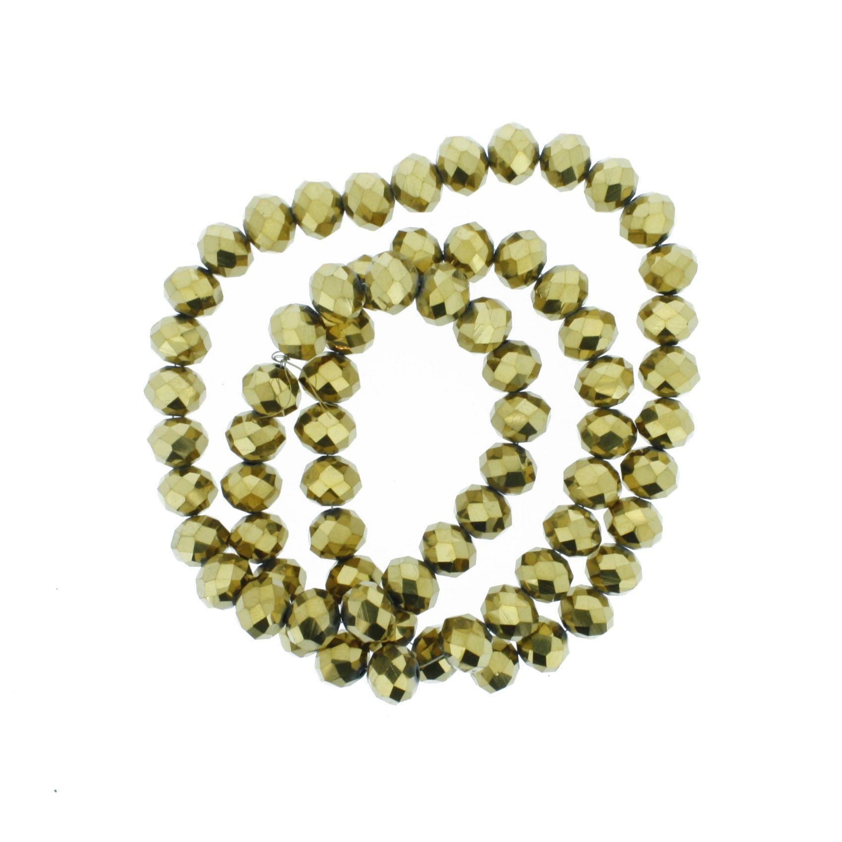 Fio de Cristal - Flat® - Dourado - 10mm  - Stéphanie Bijoux® - Peças para Bijuterias e Artesanato