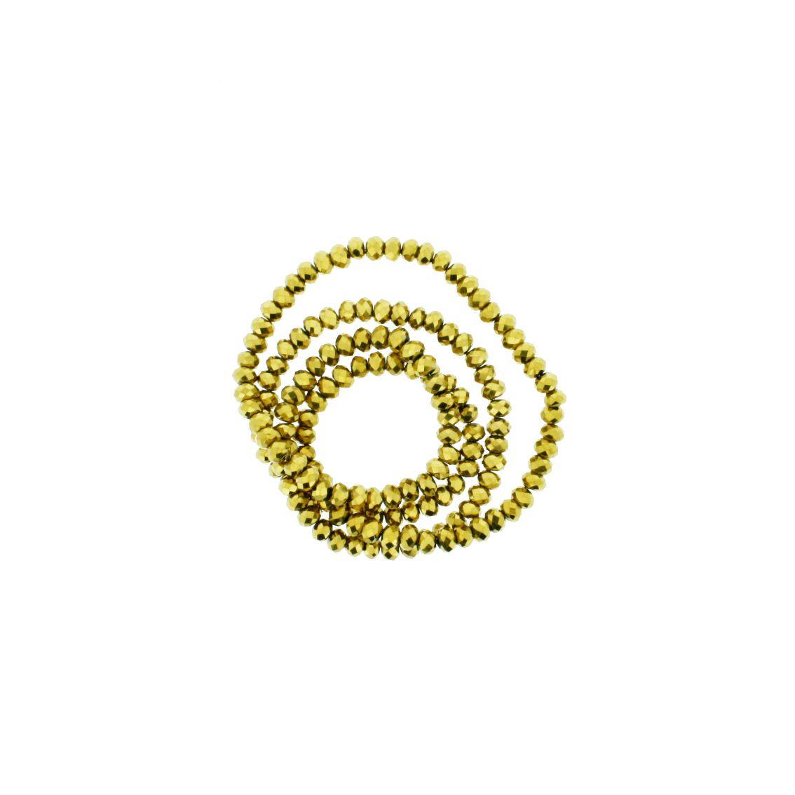 Fio de Cristal - Flat® - Dourado - 4mm  - Stéphanie Bijoux® - Peças para Bijuterias e Artesanato