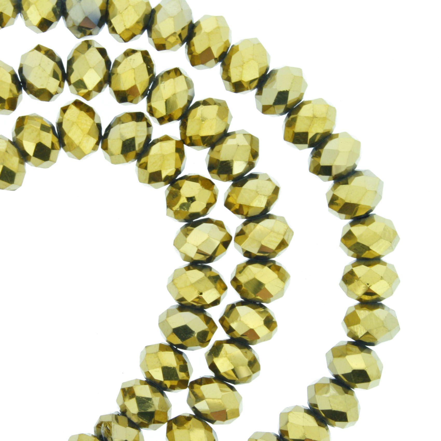 Fio de Cristal - Flat® - Dourado - 6mm  - Stéphanie Bijoux® - Peças para Bijuterias e Artesanato