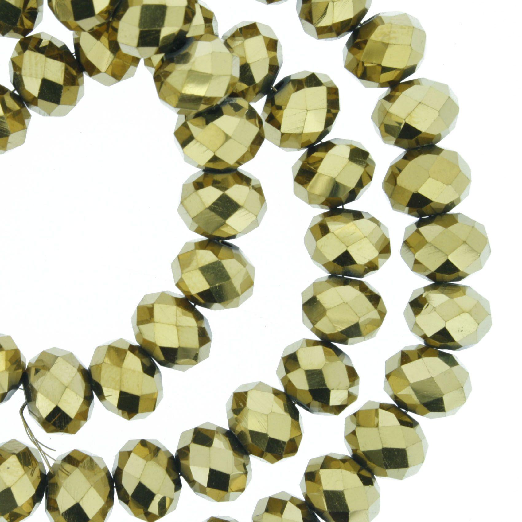 Fio de Cristal - Flat® - Dourado - 8mm  - Stéphanie Bijoux® - Peças para Bijuterias e Artesanato