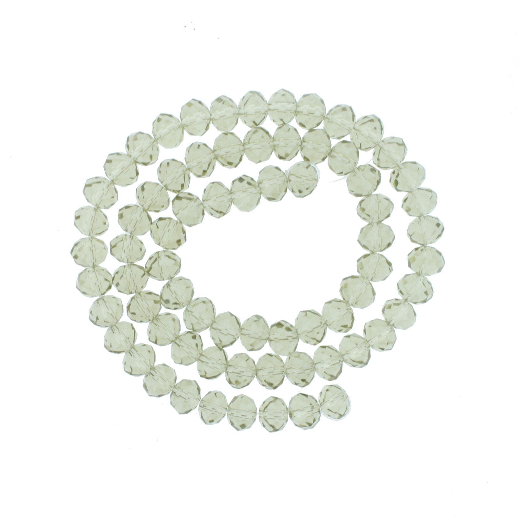 Fio de Cristal - Flat® - Fumê Amarelado - 10mm  - Stéphanie Bijoux® - Peças para Bijuterias e Artesanato