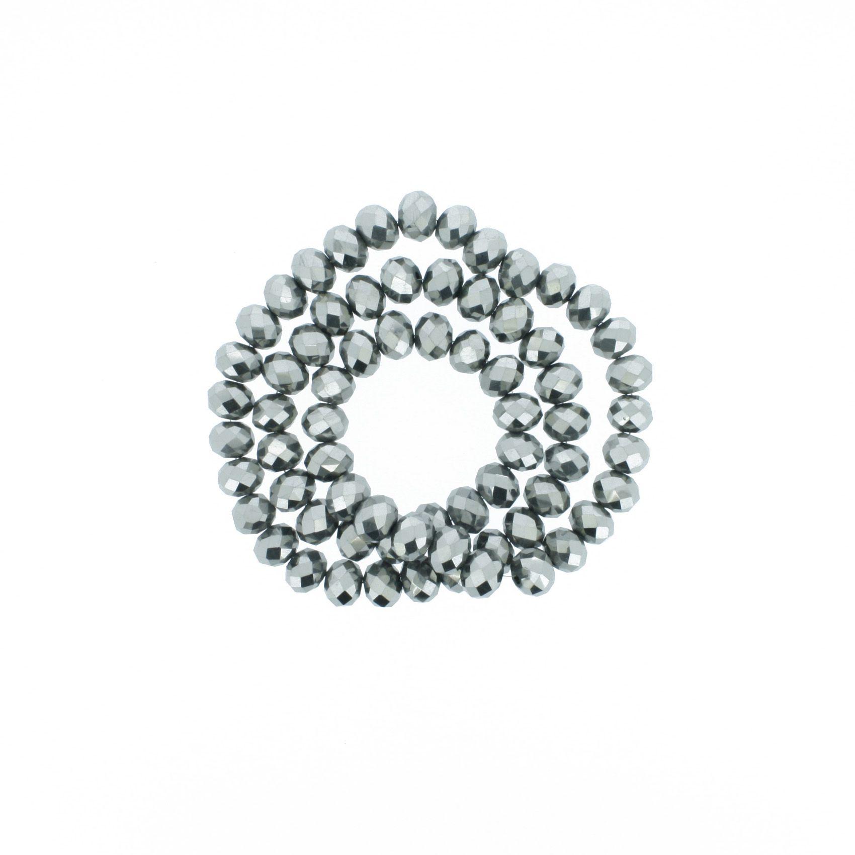Fio de Cristal - Flat® - Prata Escuro - 8mm  - Stéphanie Bijoux® - Peças para Bijuterias e Artesanato