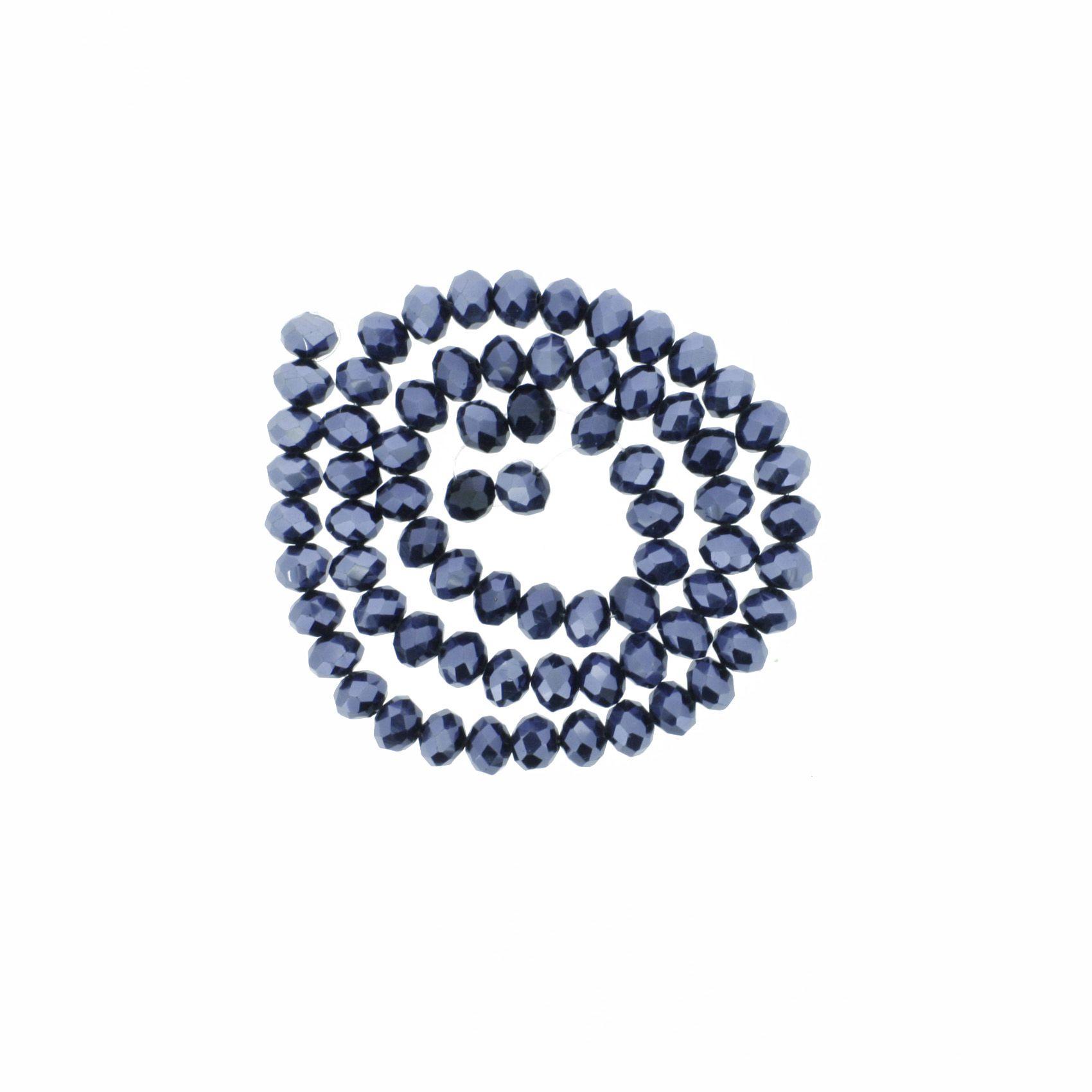 Fio de Cristal - Flat® - Grafite - 8mm  - Stéphanie Bijoux® - Peças para Bijuterias e Artesanato