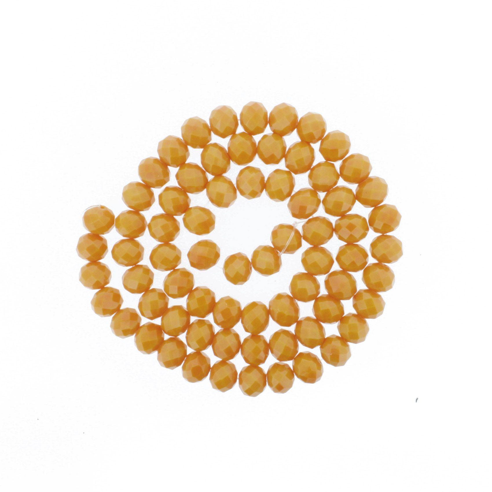 Fio de Cristal - Flat® - Laranja - 10mm  - Stéphanie Bijoux® - Peças para Bijuterias e Artesanato