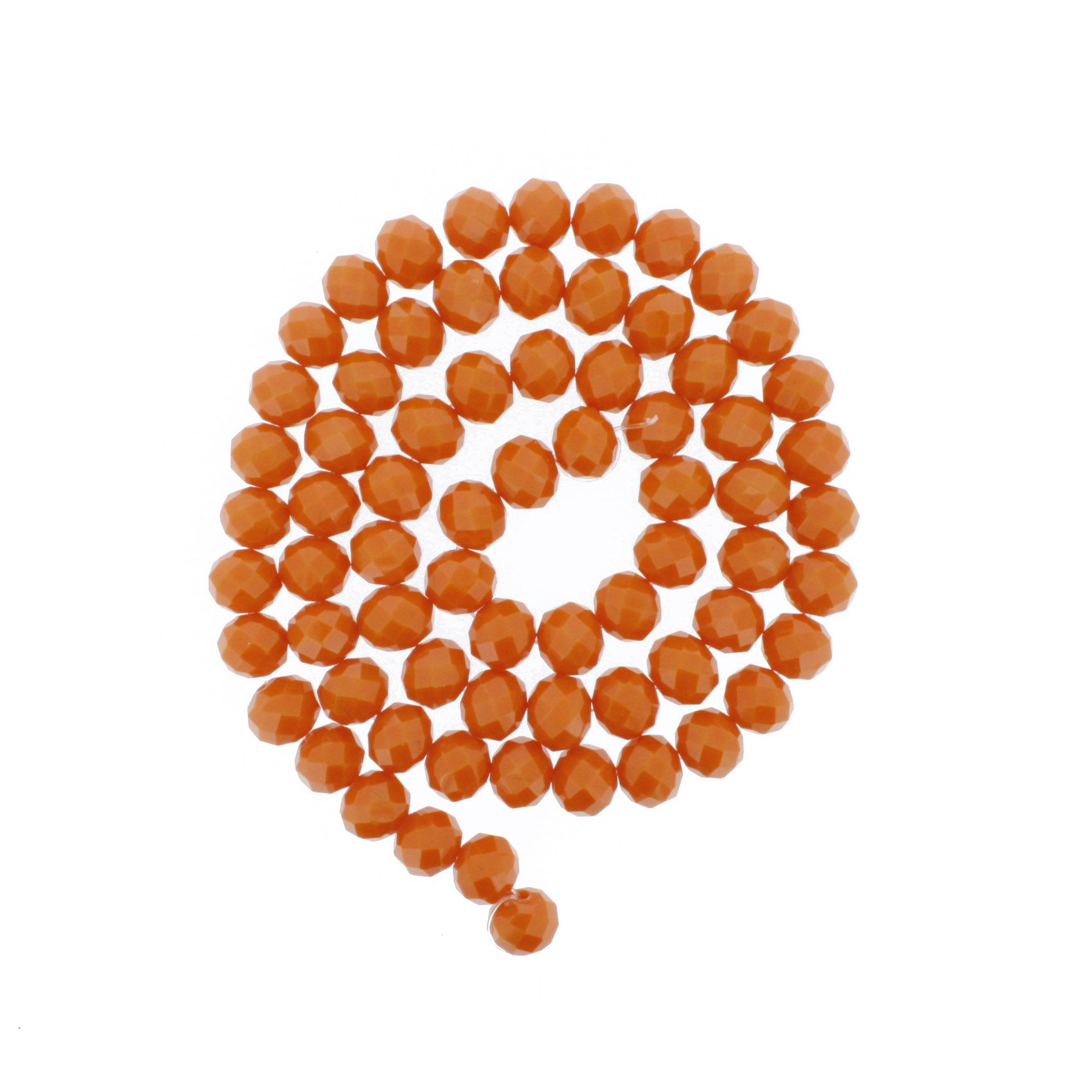 Fio de Cristal - Flat® - Laranja Coral - 10mm  - Stéphanie Bijoux® - Peças para Bijuterias e Artesanato