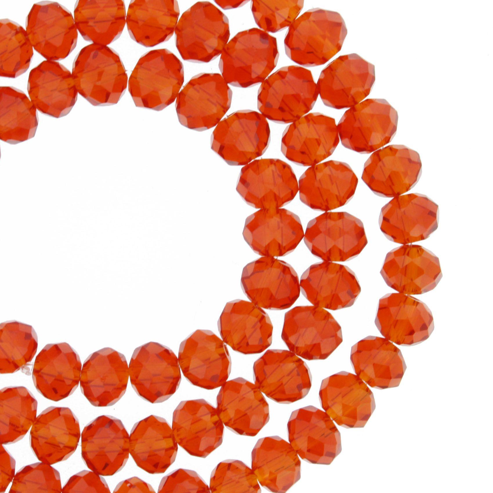 Fio de Cristal - Flat® - Laranja Transparente - 6mm  - Stéphanie Bijoux® - Peças para Bijuterias e Artesanato