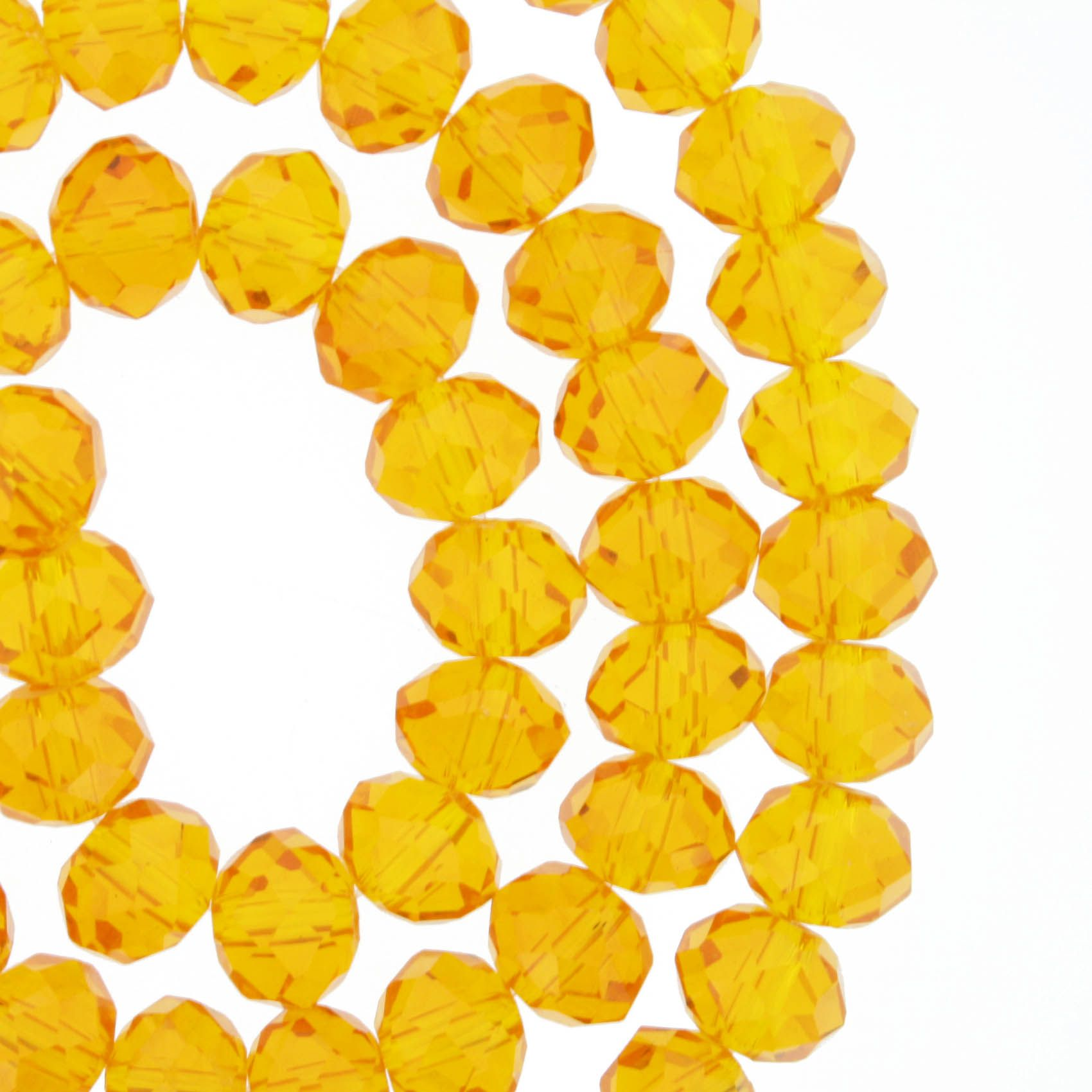 Fio de Cristal - Flat® - Laranja Transparente - 8mm  - Stéphanie Bijoux® - Peças para Bijuterias e Artesanato