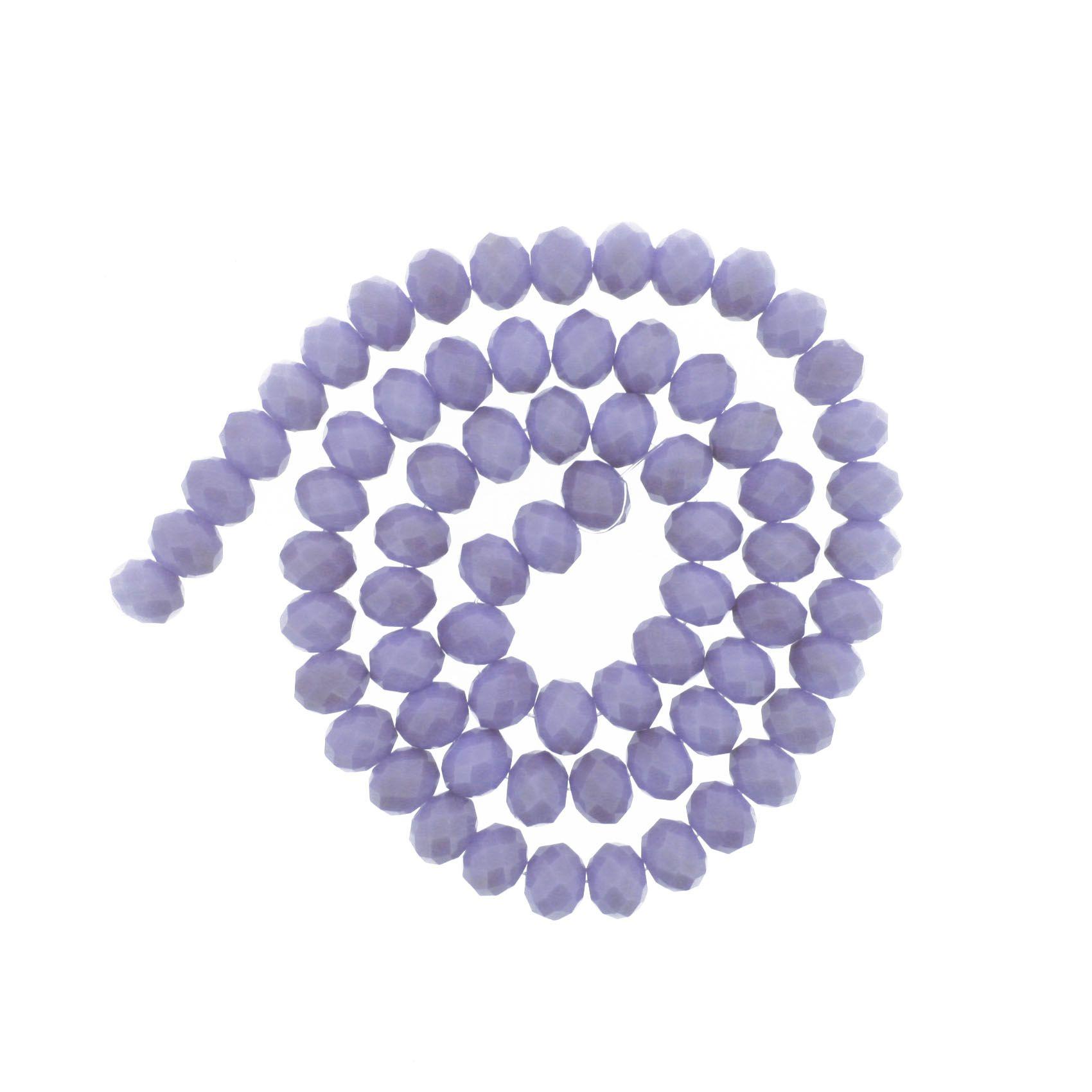 Fio de Cristal - Flat® - Lilás - 8mm  - Stéphanie Bijoux® - Peças para Bijuterias e Artesanato
