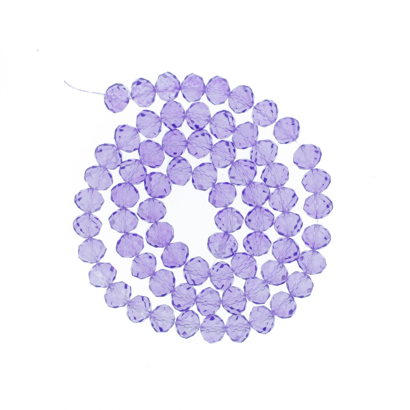 Fio de Cristal - Flat® - Lilás Transparente - 8mm  - Stéphanie Bijoux® - Peças para Bijuterias e Artesanato