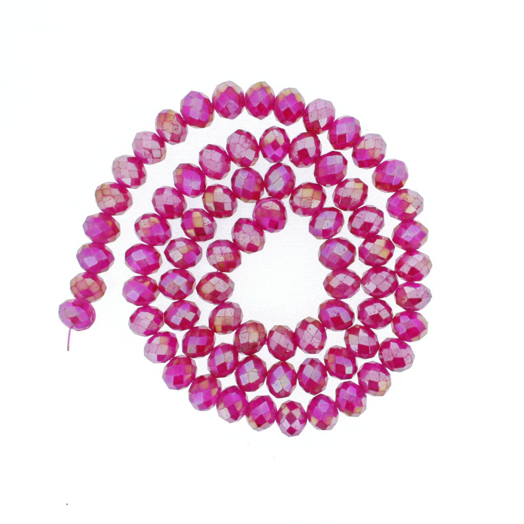 Fio de Cristal - Flat® - Magenta Irizado - 10mm  - Stéphanie Bijoux® - Peças para Bijuterias e Artesanato