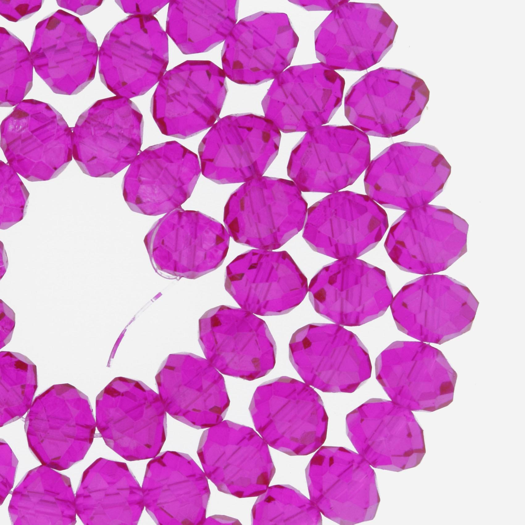 Fio de Cristal - Flat® - Magenta Transparente - 8mm  - Stéphanie Bijoux® - Peças para Bijuterias e Artesanato