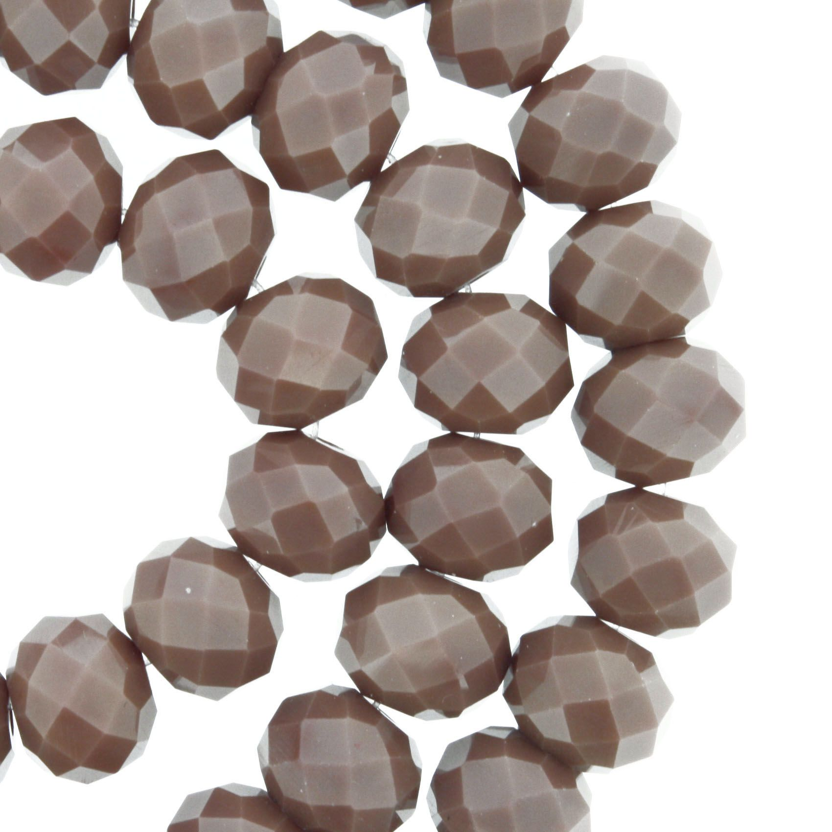 Fio de Cristal - Flat® - Marrom - 10mm  - Stéphanie Bijoux® - Peças para Bijuterias e Artesanato