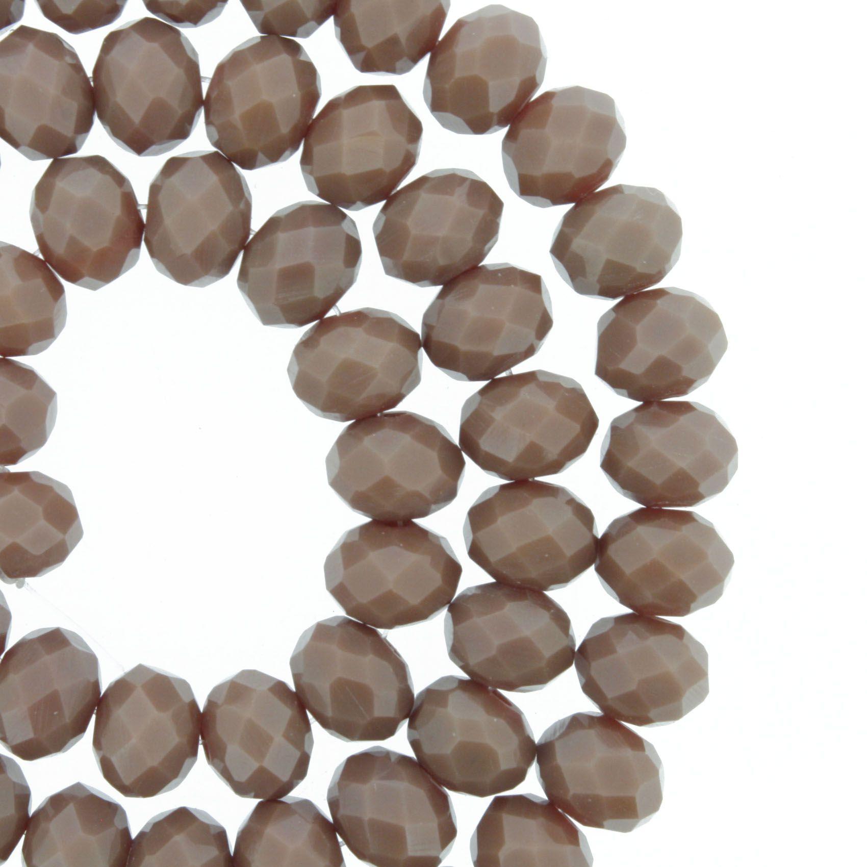 Fio de Cristal - Flat® - Marrom - 8mm  - Stéphanie Bijoux® - Peças para Bijuterias e Artesanato