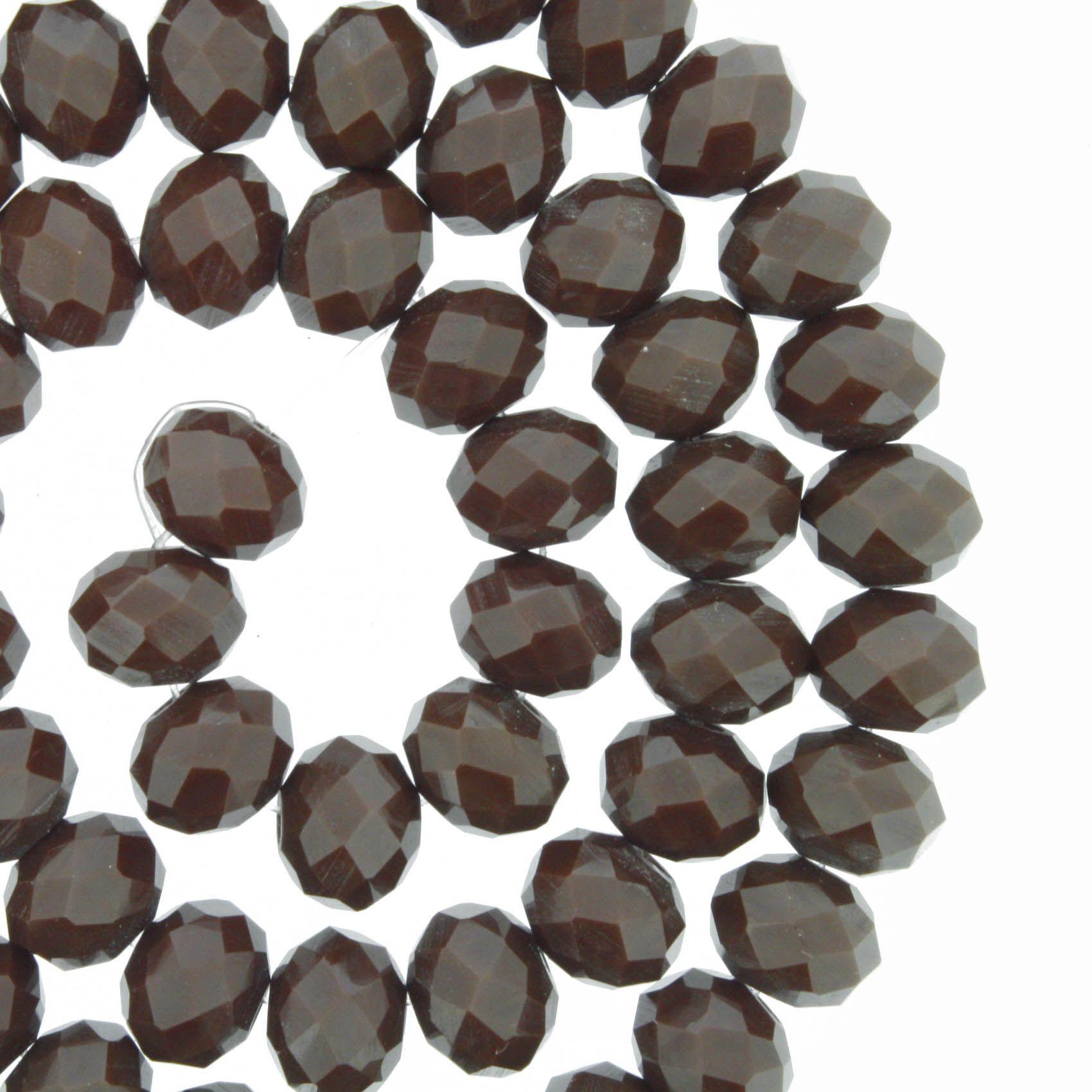 Fio de Cristal - Flat® - Marrom Escuro - 8mm  - Stéphanie Bijoux® - Peças para Bijuterias e Artesanato