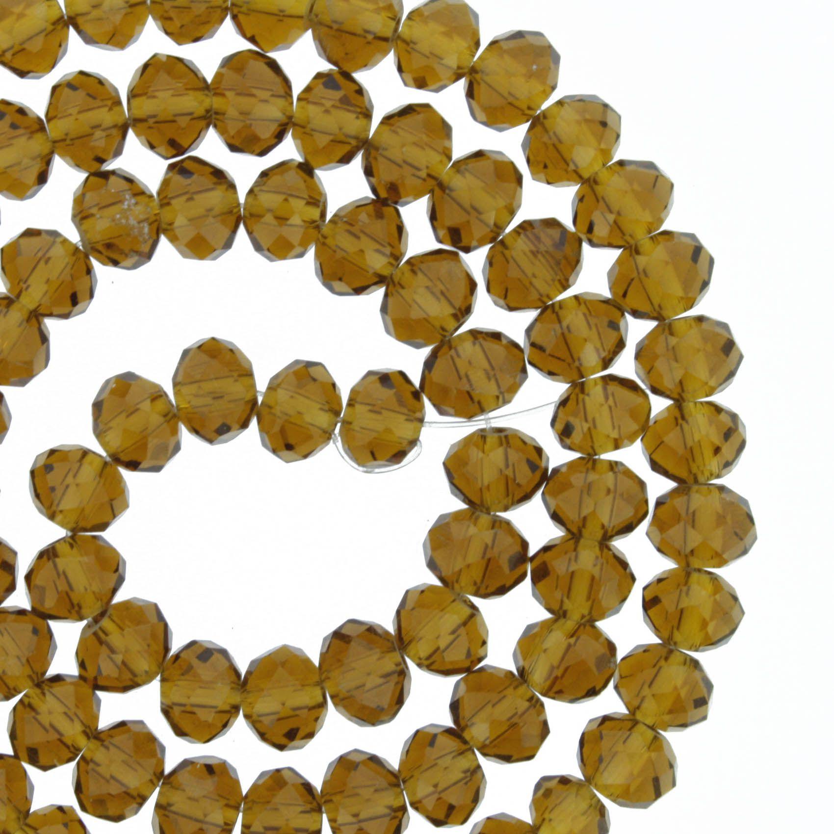 Fio de Cristal - Flat® - Marrom Transparente - 6mm  - Stéphanie Bijoux® - Peças para Bijuterias e Artesanato