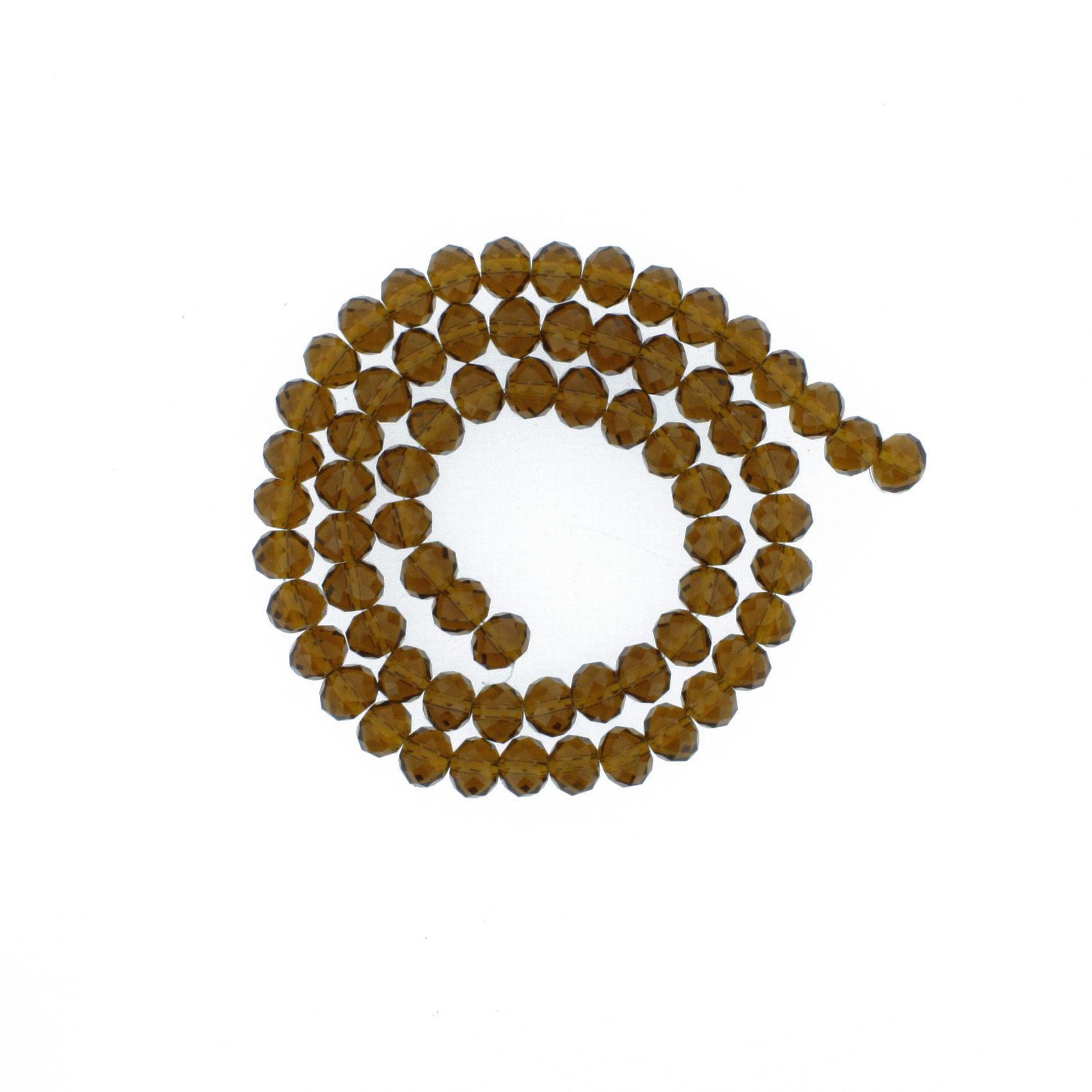 Fio de Cristal - Flat® - Marrom Transparente - 8mm  - Stéphanie Bijoux® - Peças para Bijuterias e Artesanato