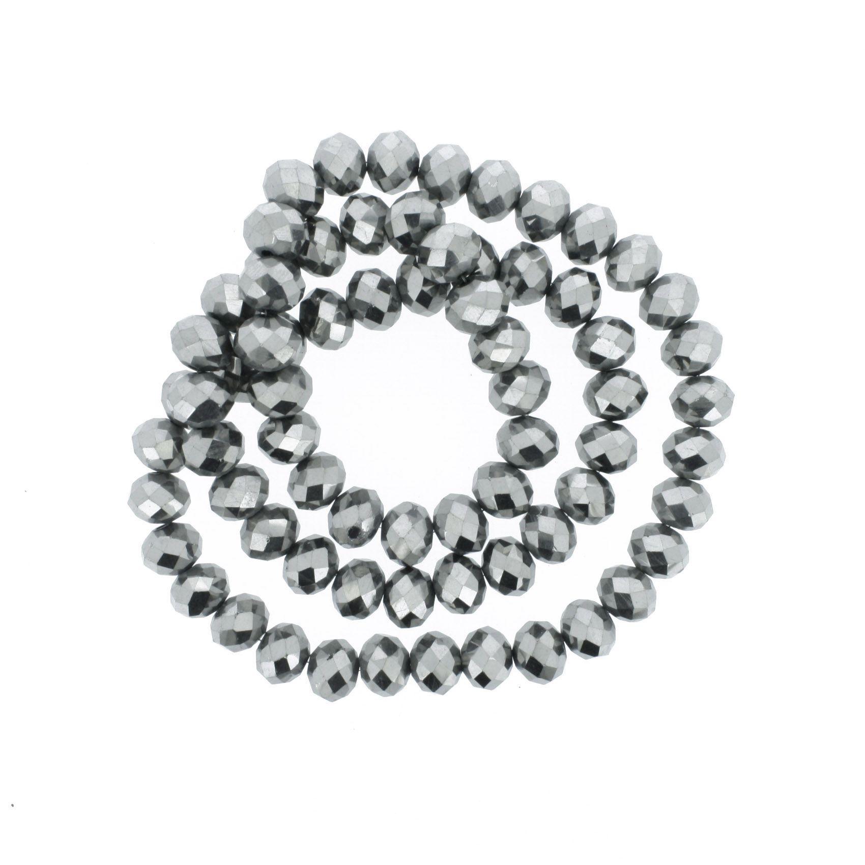 Fio de Cristal - Flat® - Prateado - 10mm  - Stéphanie Bijoux® - Peças para Bijuterias e Artesanato