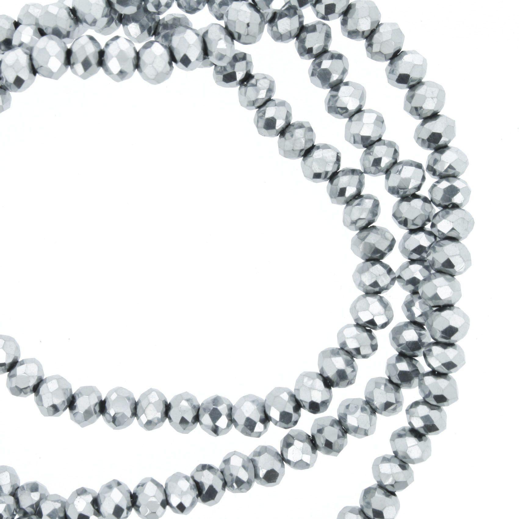 Fio de Cristal - Flat® - Prateado - 4mm  - Stéphanie Bijoux® - Peças para Bijuterias e Artesanato