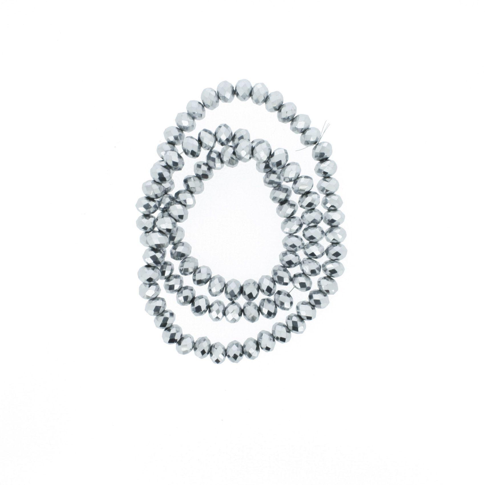 Fio de Cristal - Flat® - Prateado - 6mm  - Stéphanie Bijoux® - Peças para Bijuterias e Artesanato