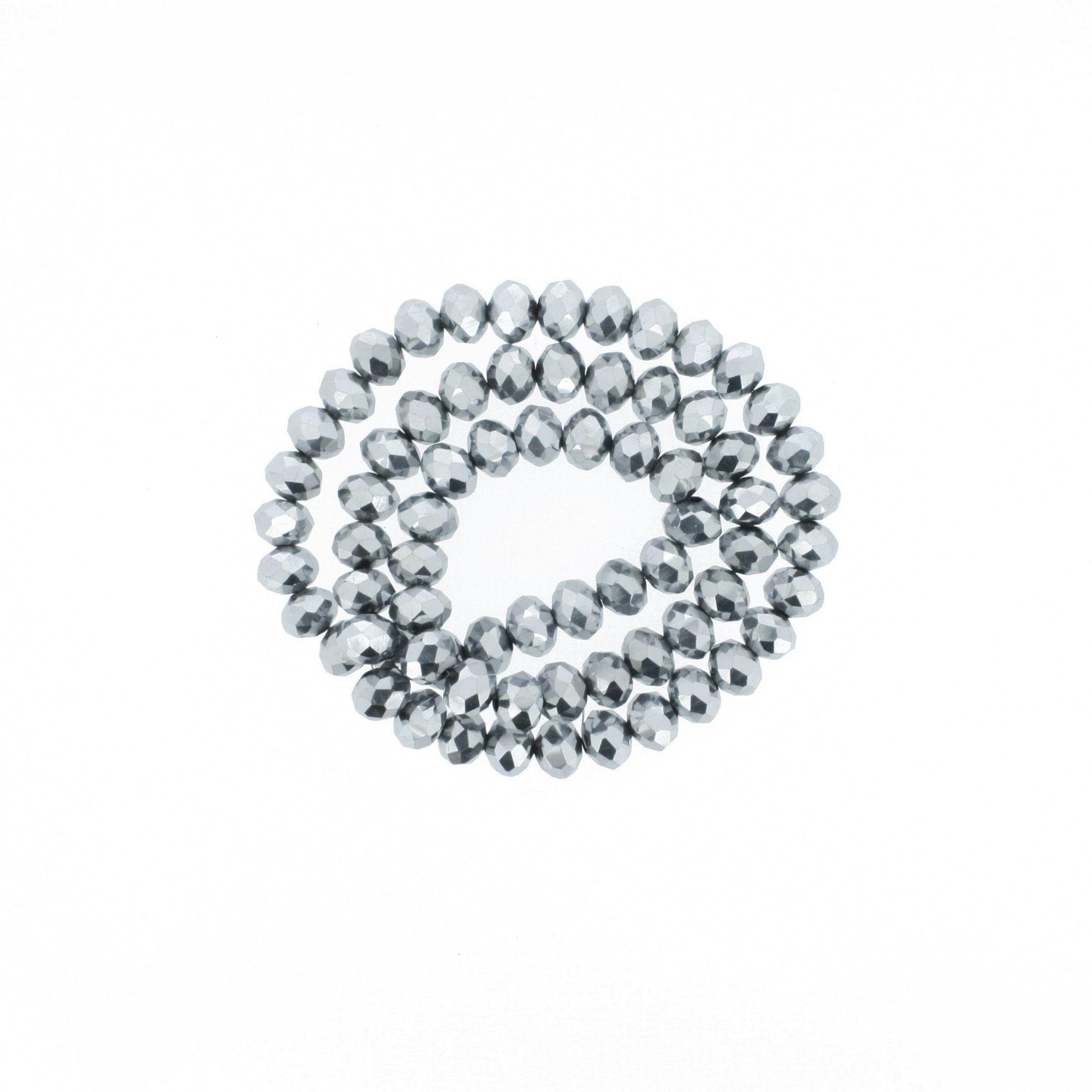 Fio de Cristal - Flat® - Prateado - 8mm  - Stéphanie Bijoux® - Peças para Bijuterias e Artesanato