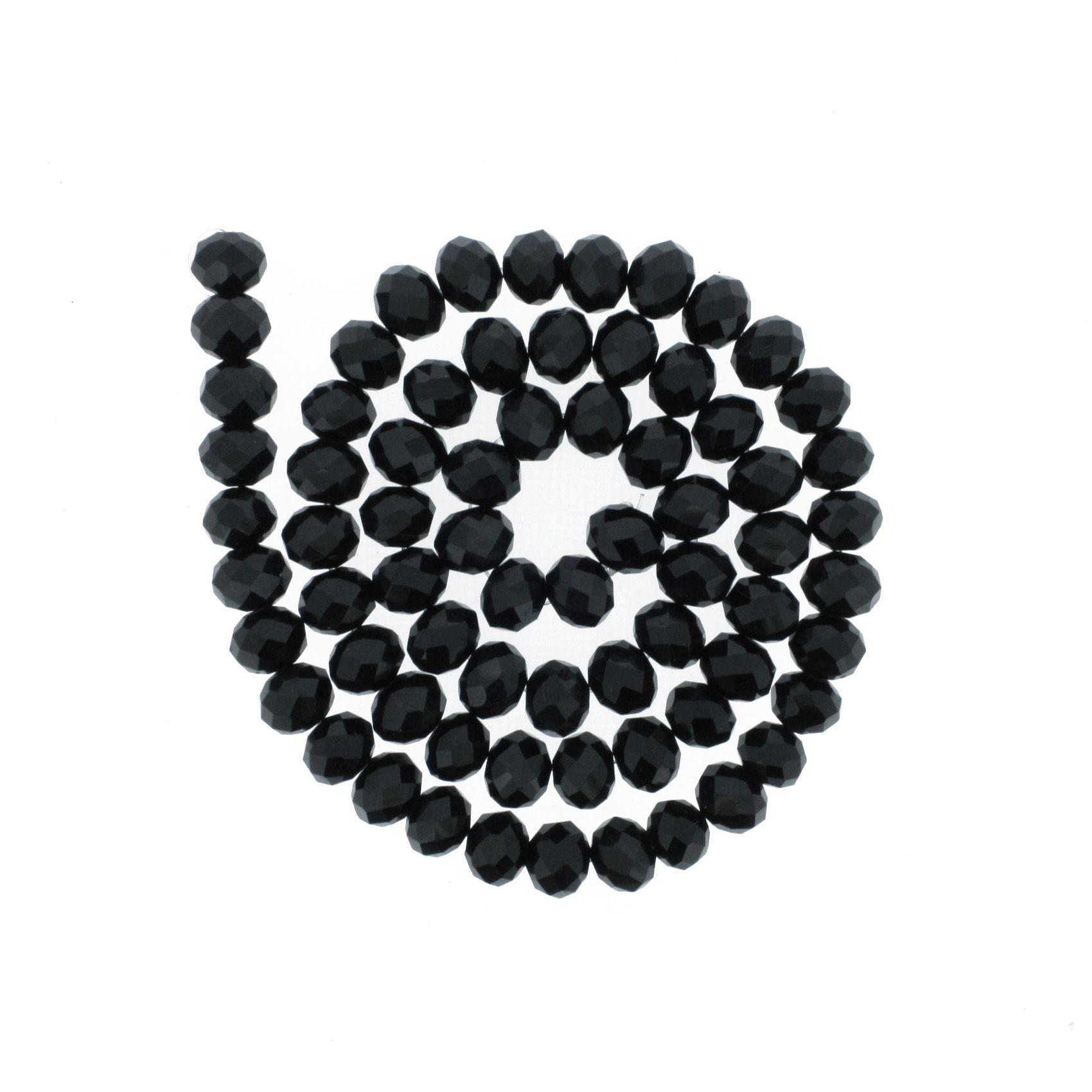 Fio de Cristal - Flat® - Preto - 10mm  - Stéphanie Bijoux® - Peças para Bijuterias e Artesanato