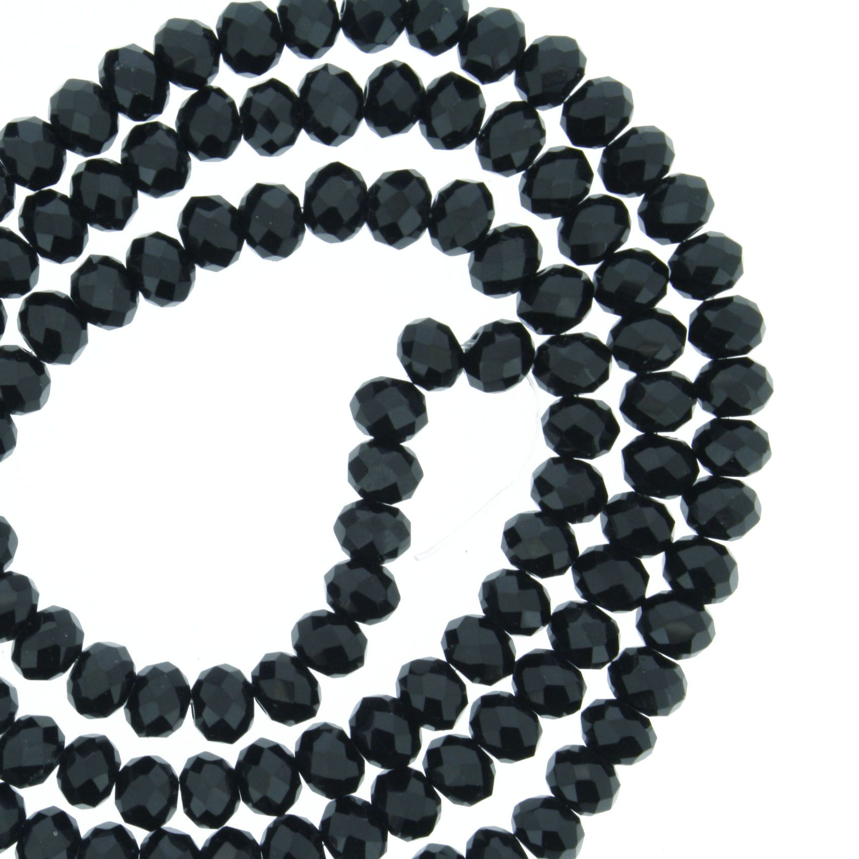 Fio de Cristal - Flat® - Preto - 4mm  - Stéphanie Bijoux® - Peças para Bijuterias e Artesanato