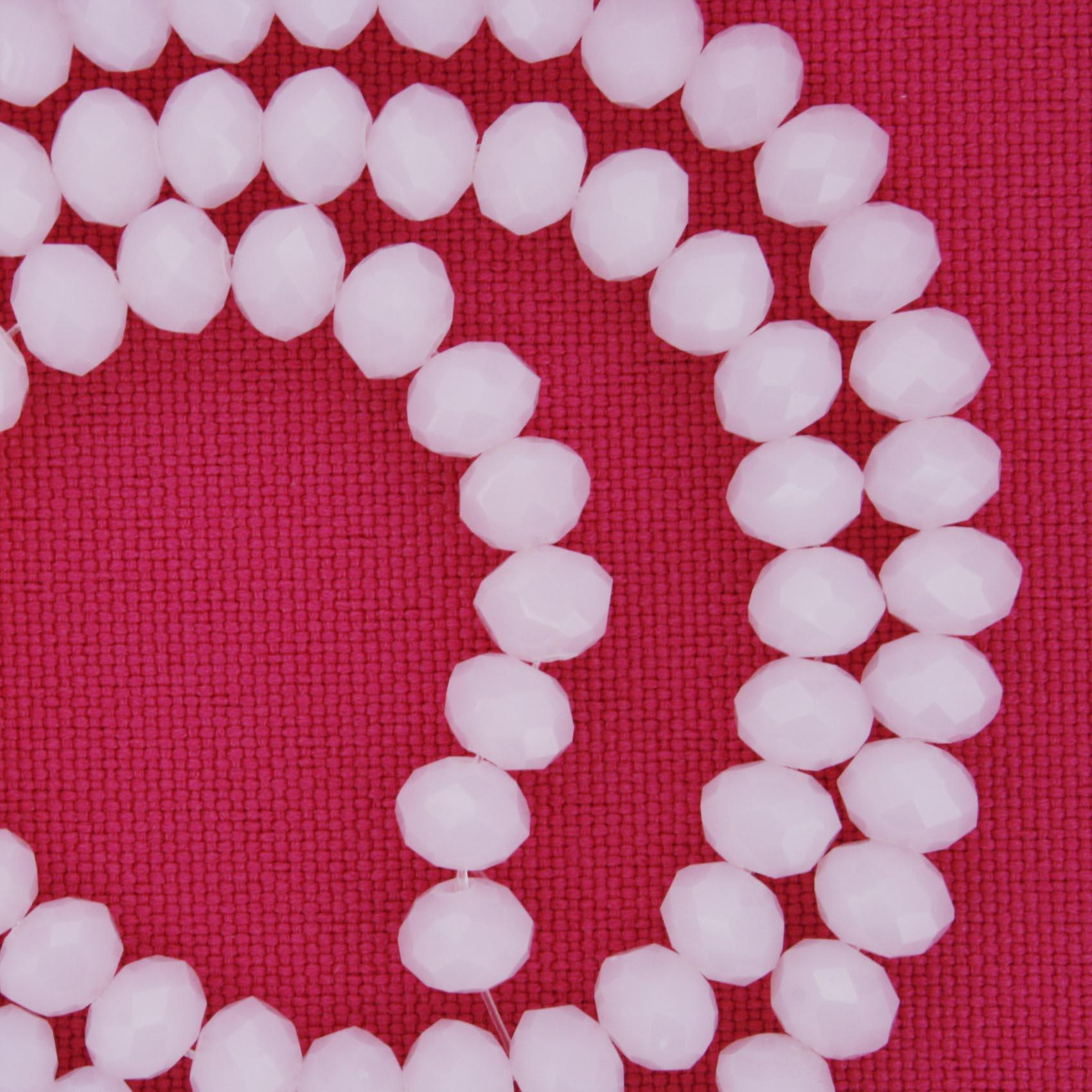 Fio de Cristal - Flat® - Rosa - 6mm  - Stéphanie Bijoux® - Peças para Bijuterias e Artesanato
