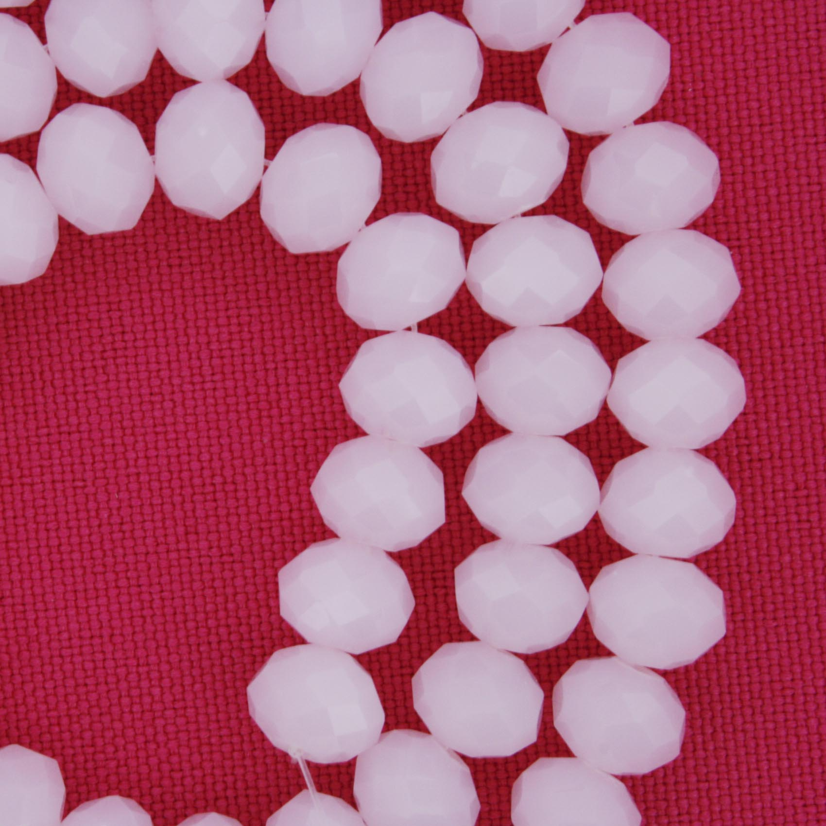 Fio de Cristal - Flat® - Rosa - 8mm  - Stéphanie Bijoux® - Peças para Bijuterias e Artesanato