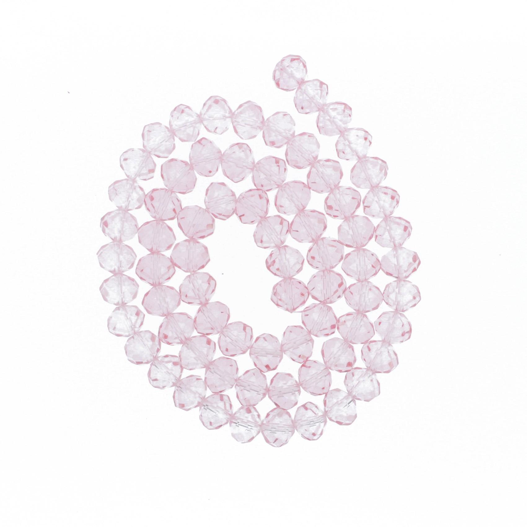 Fio de Cristal - Flat® - Rosa Claro Transparente - 10mm  - Stéphanie Bijoux® - Peças para Bijuterias e Artesanato