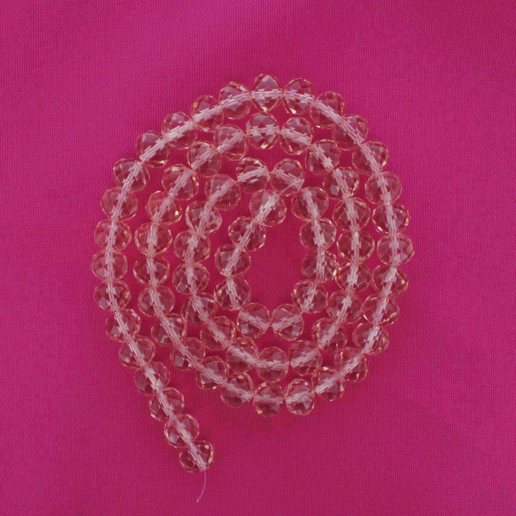 Fio de Cristal - Flat® - Rosa Transparente - 10mm  - Stéphanie Bijoux® - Peças para Bijuterias e Artesanato
