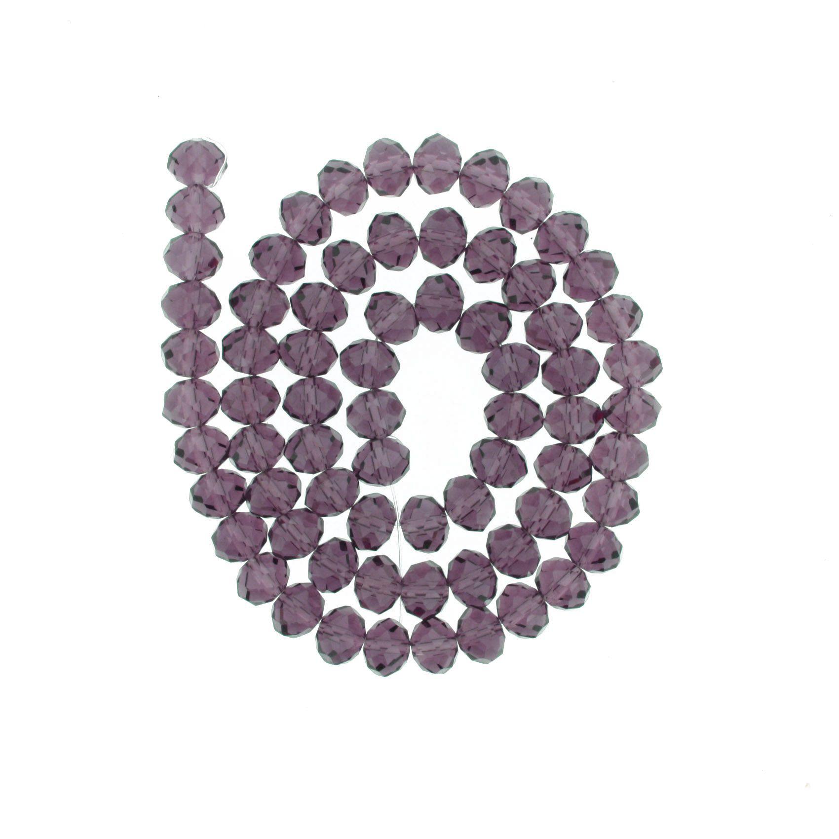 Fio de Cristal - Flat® - Roxo Transparente - 10mm  - Stéphanie Bijoux® - Peças para Bijuterias e Artesanato