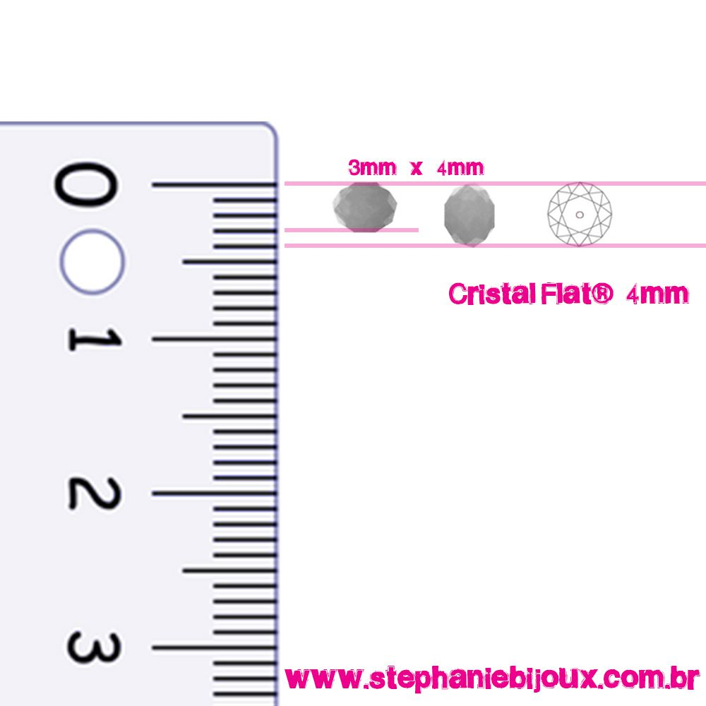 Fio de Cristal - Flat® - Bege Irizado Transparente - 4mm  - Stéphanie Bijoux® - Peças para Bijuterias e Artesanato