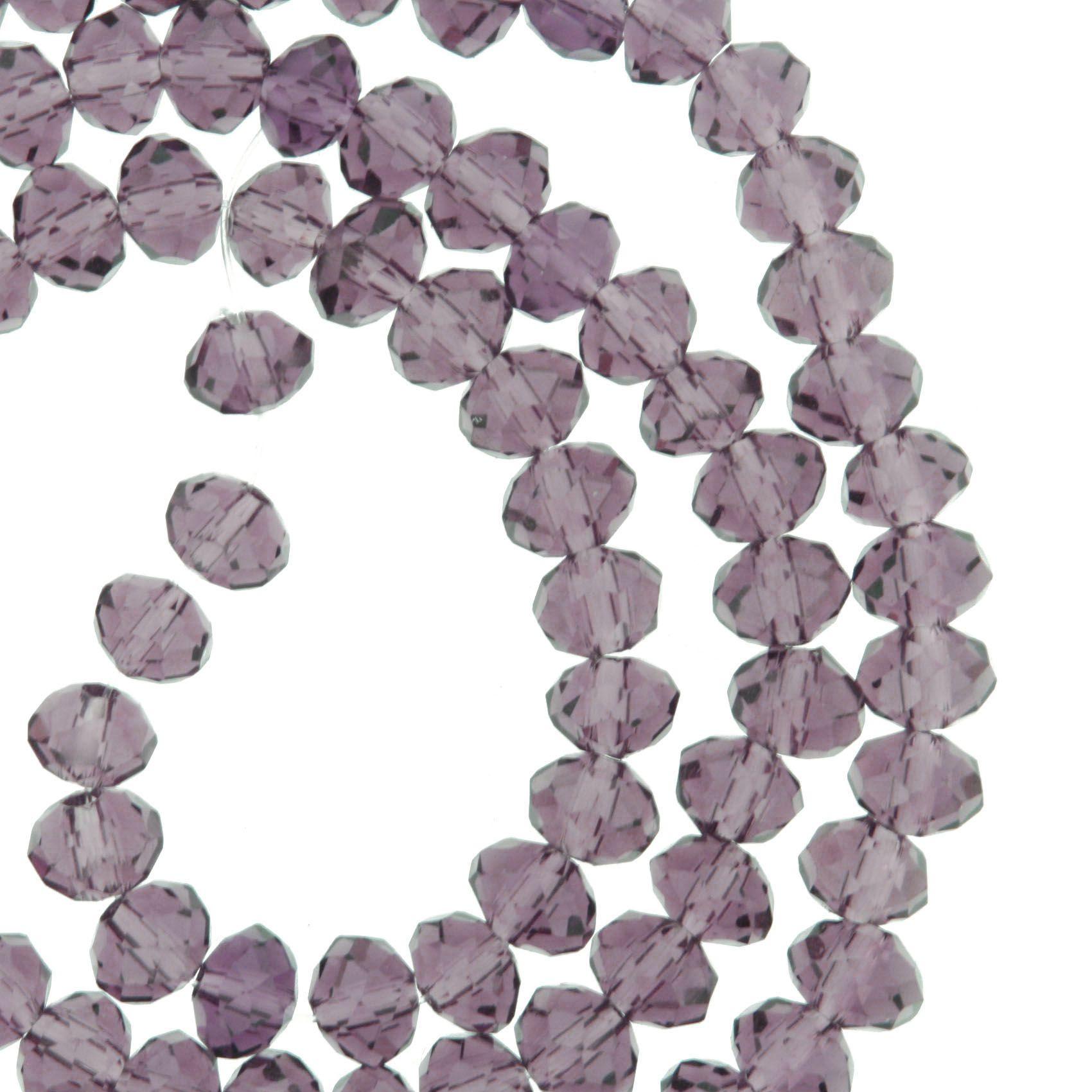 Fio de Cristal - Flat® - Roxo Transparente - 6mm  - Stéphanie Bijoux® - Peças para Bijuterias e Artesanato