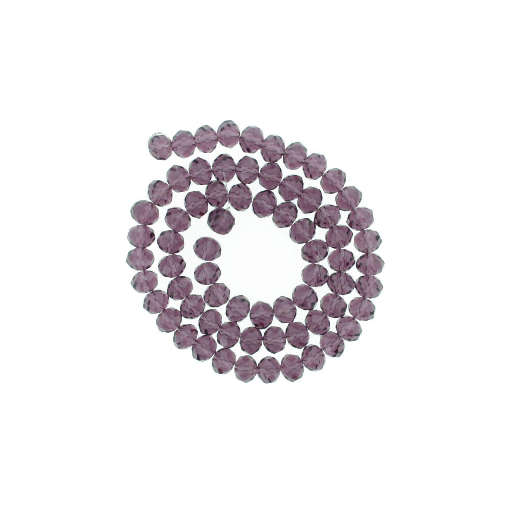 Fio de Cristal - Flat® - Roxo Transparente - 8mm  - Stéphanie Bijoux® - Peças para Bijuterias e Artesanato