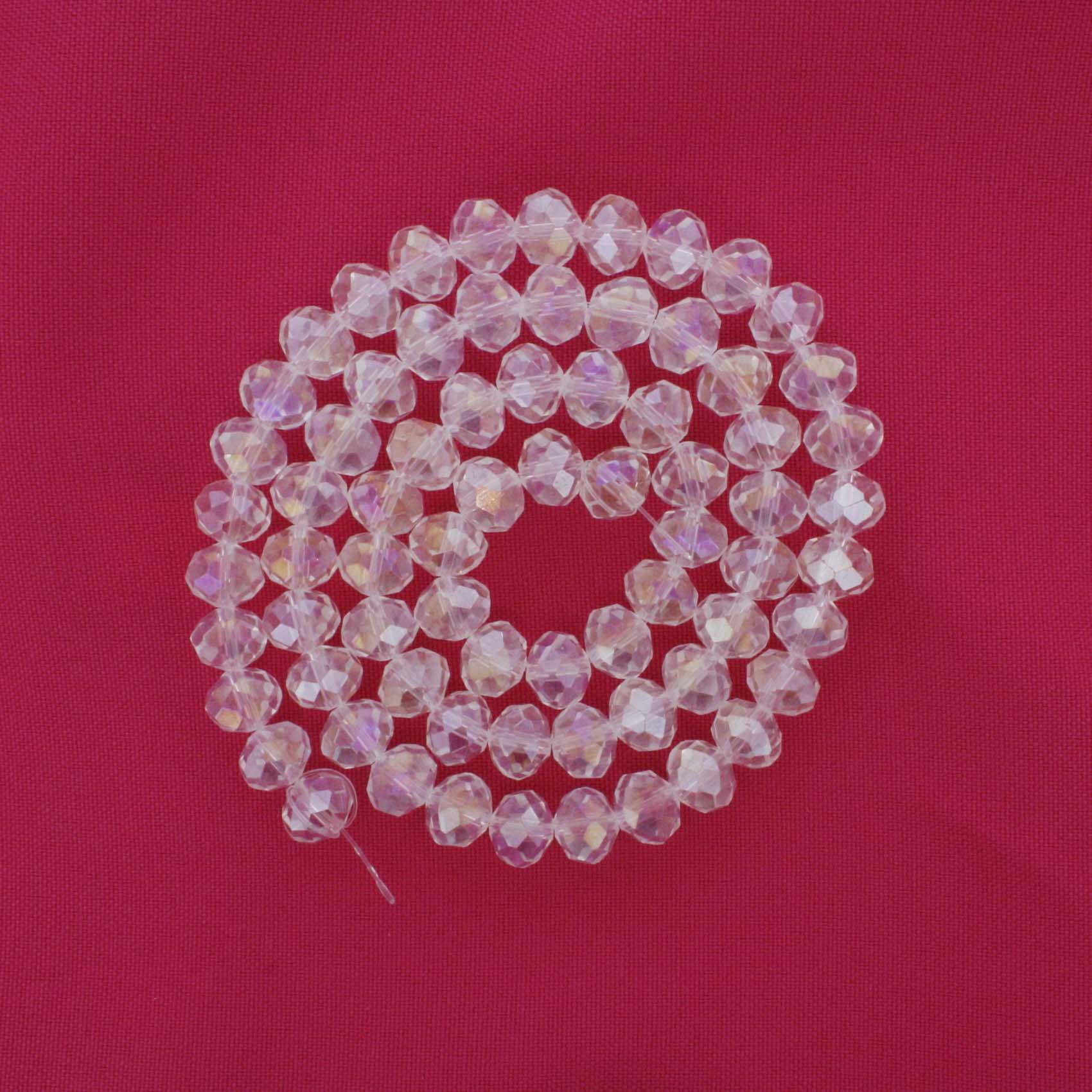 Fio de Cristal - Flat® - Transparente Irizado - 10mm  - Stéphanie Bijoux® - Peças para Bijuterias e Artesanato